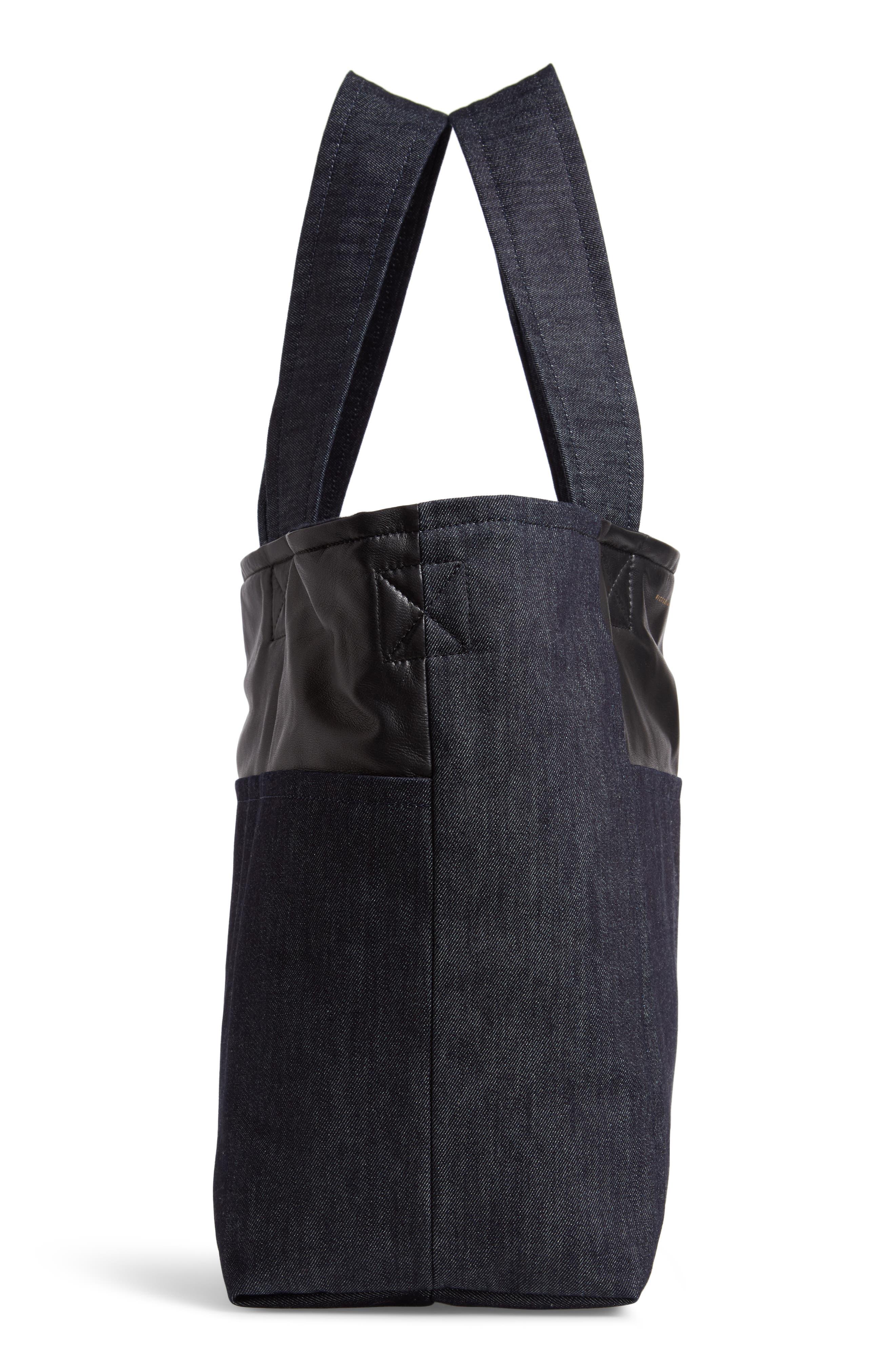 VICTORIA BECKHAM, Sunday Denim & Leather Tote Bag, Alternate thumbnail 5, color, 400