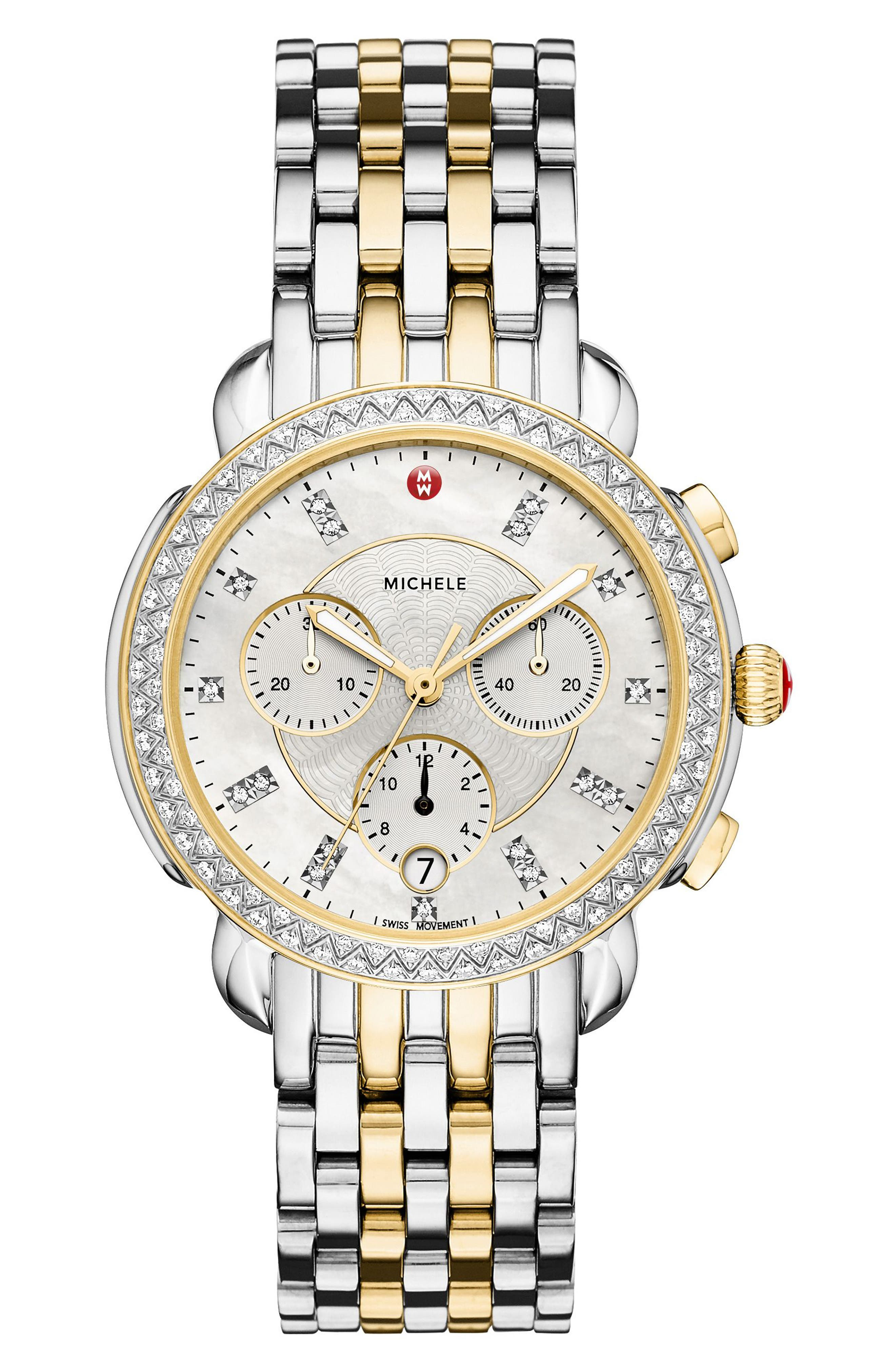 MICHELE, Sidney Chrono Diamond Diamond Dial Watch Case, 38mm, Alternate thumbnail 4, color, SILVER/ MOP/ GOLD