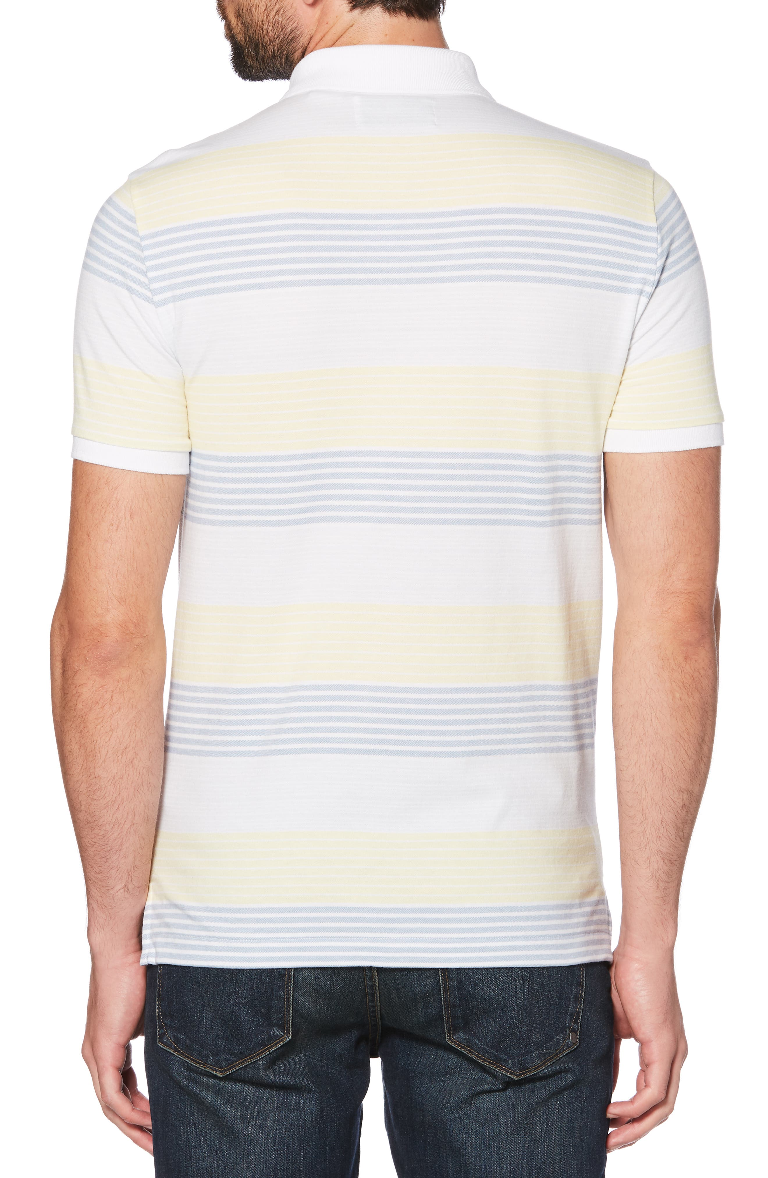 ORIGINAL PENGUIN, Engineered Stripe Polo, Alternate thumbnail 2, color, BRIGHT WHITE