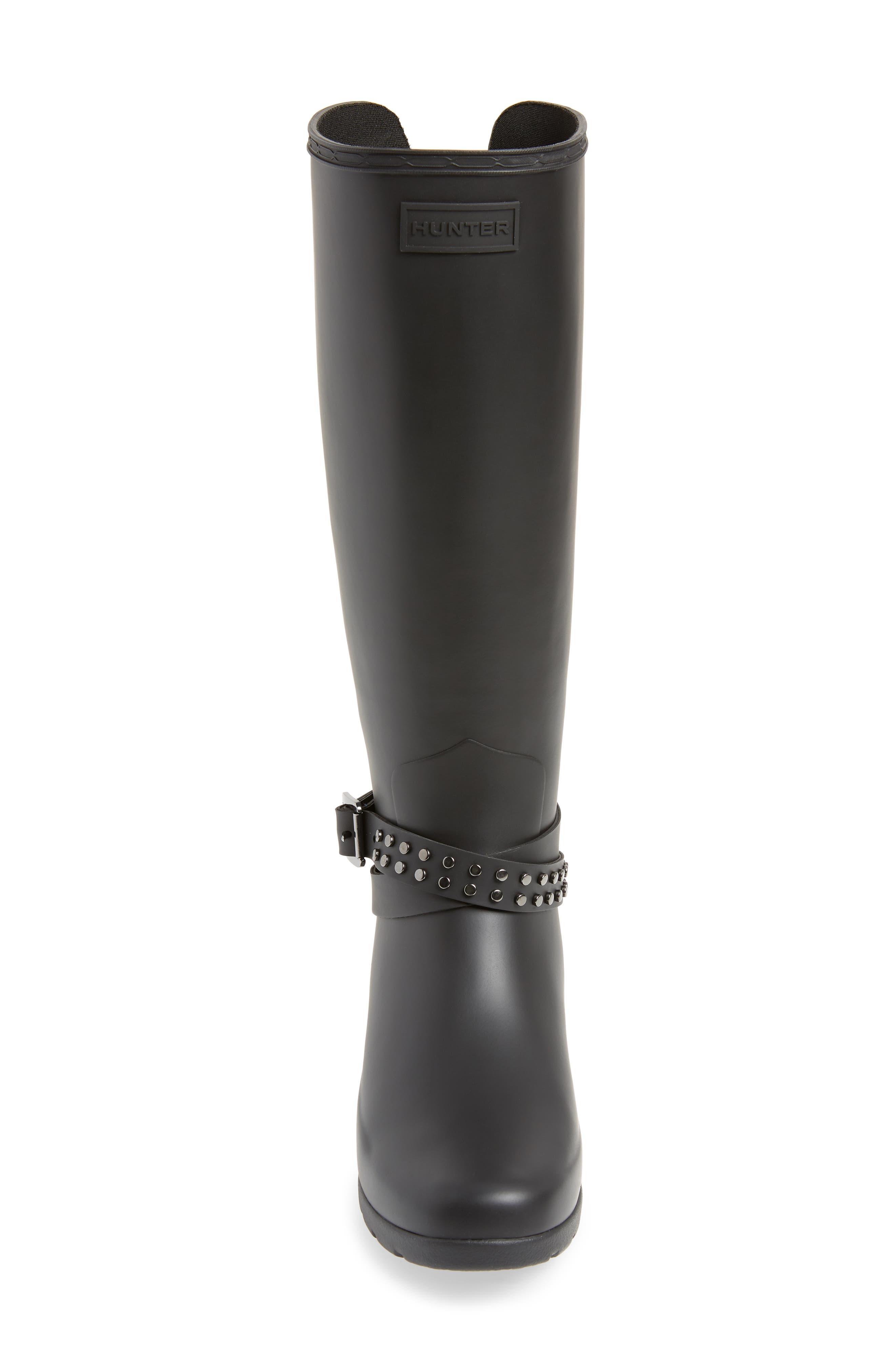 HUNTER, Refined Adjustable Back Knee High Waterproof Rain Boot, Alternate thumbnail 4, color, BLACK