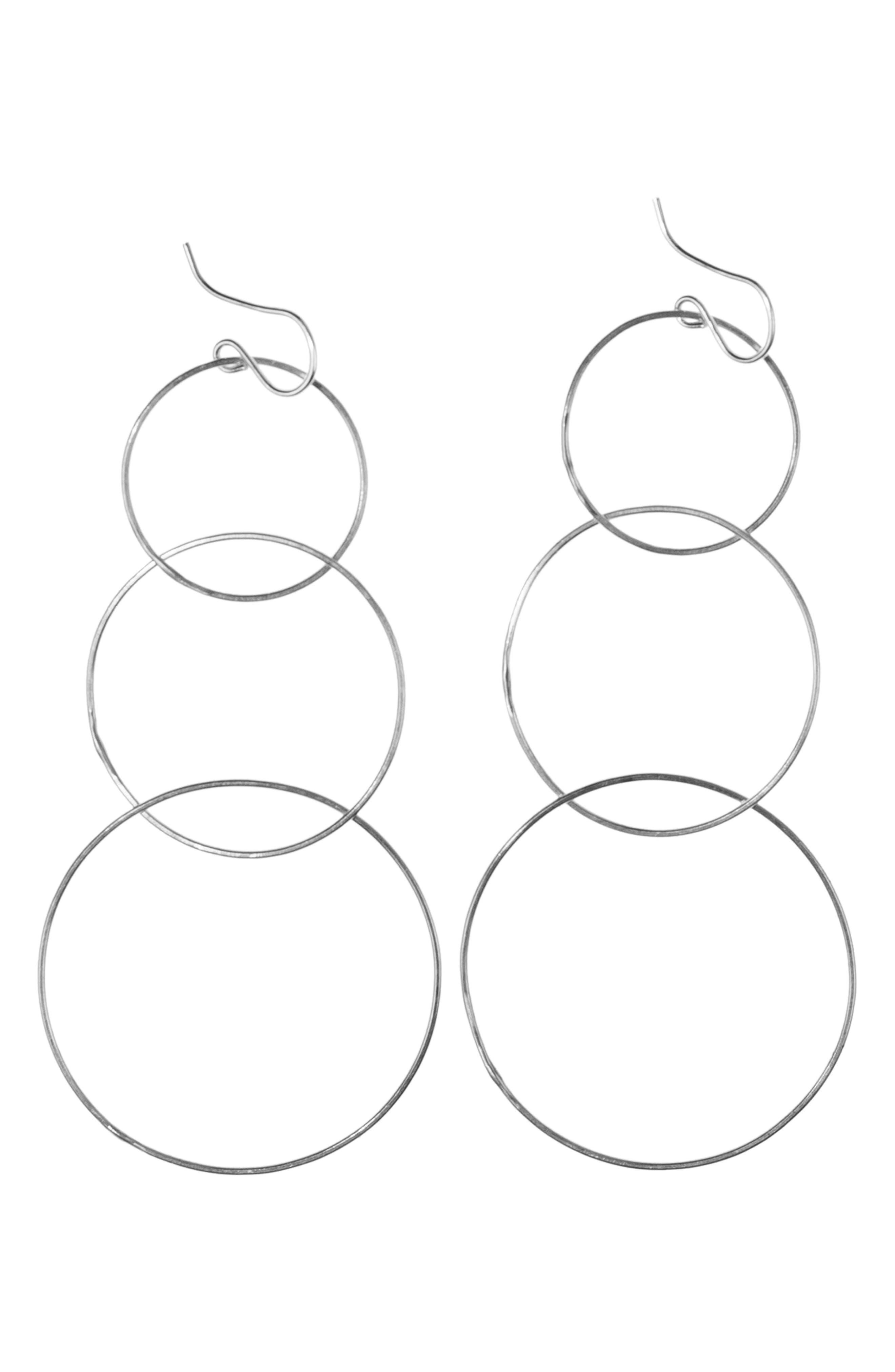 NASHELLE Triple Hoop Drop Earrings, Main, color, SILVER
