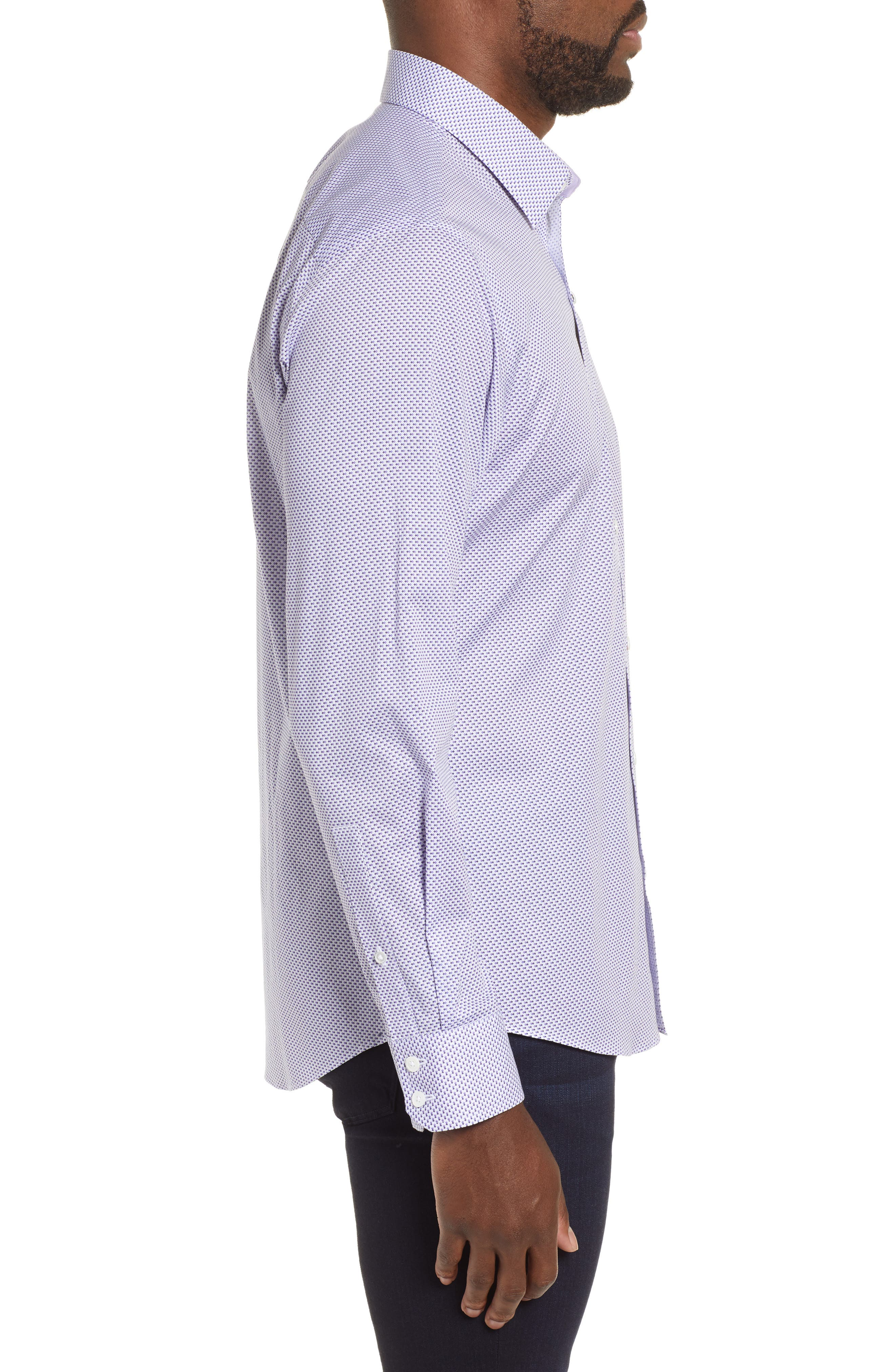 ZACHARY PRELL, Wilson Regular Fit Micro Print Sport Shirt, Alternate thumbnail 4, color, PURPLE
