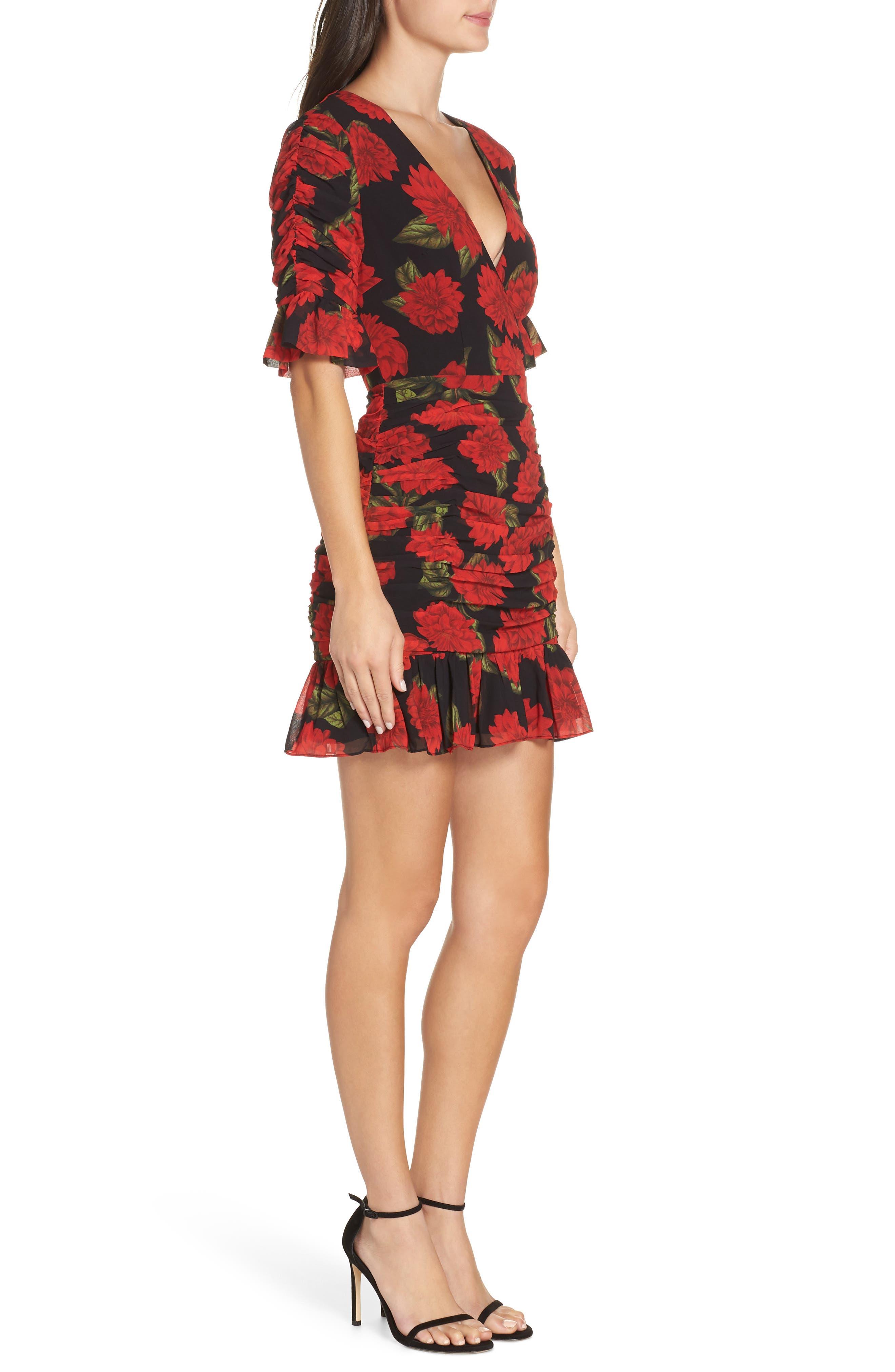 KEEPSAKE THE LABEL, Find You Floral Dress, Alternate thumbnail 4, color, 001