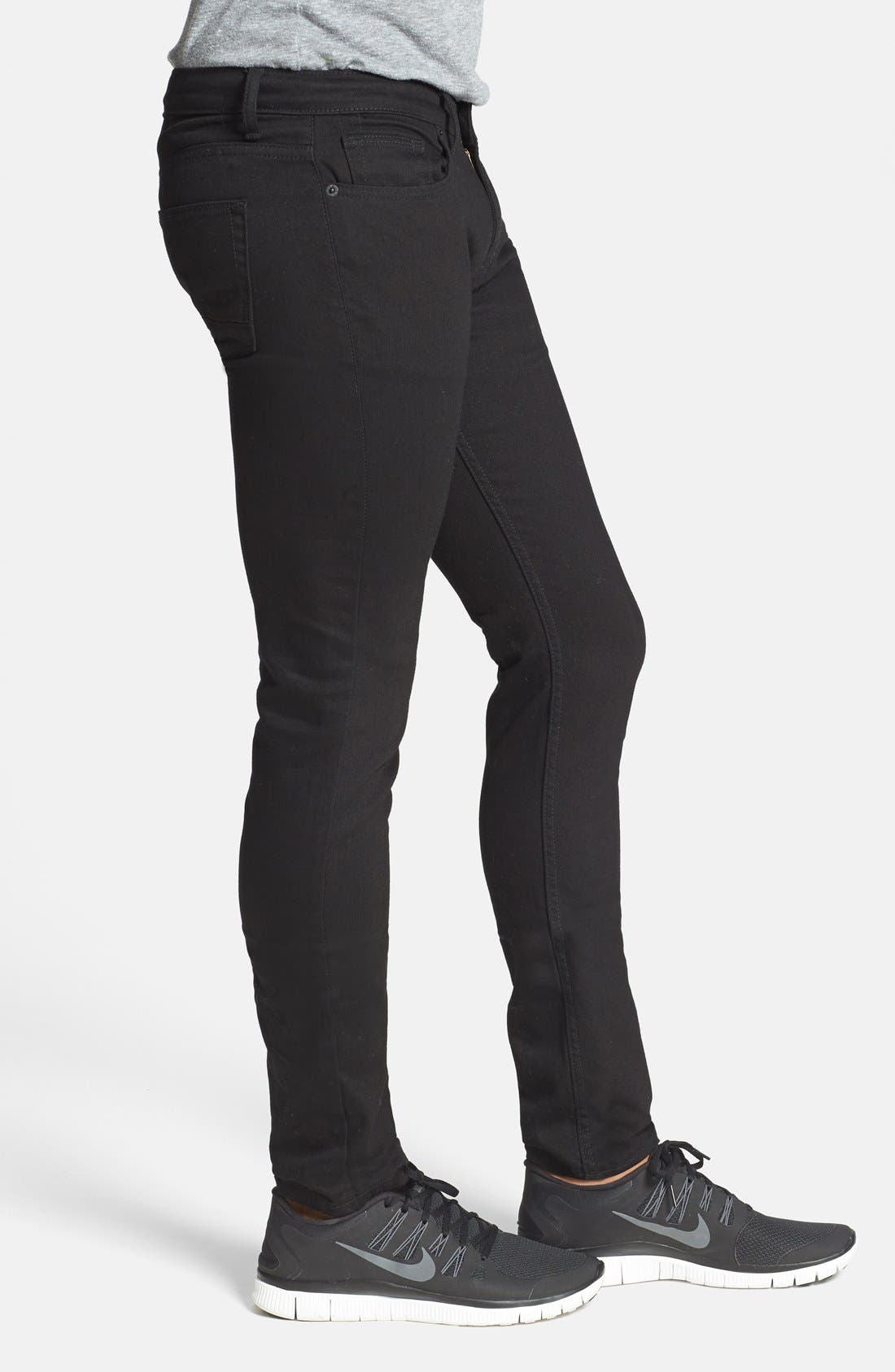 TOPMAN, Stretch Skinny Fit Jeans, Alternate thumbnail 3, color, 001