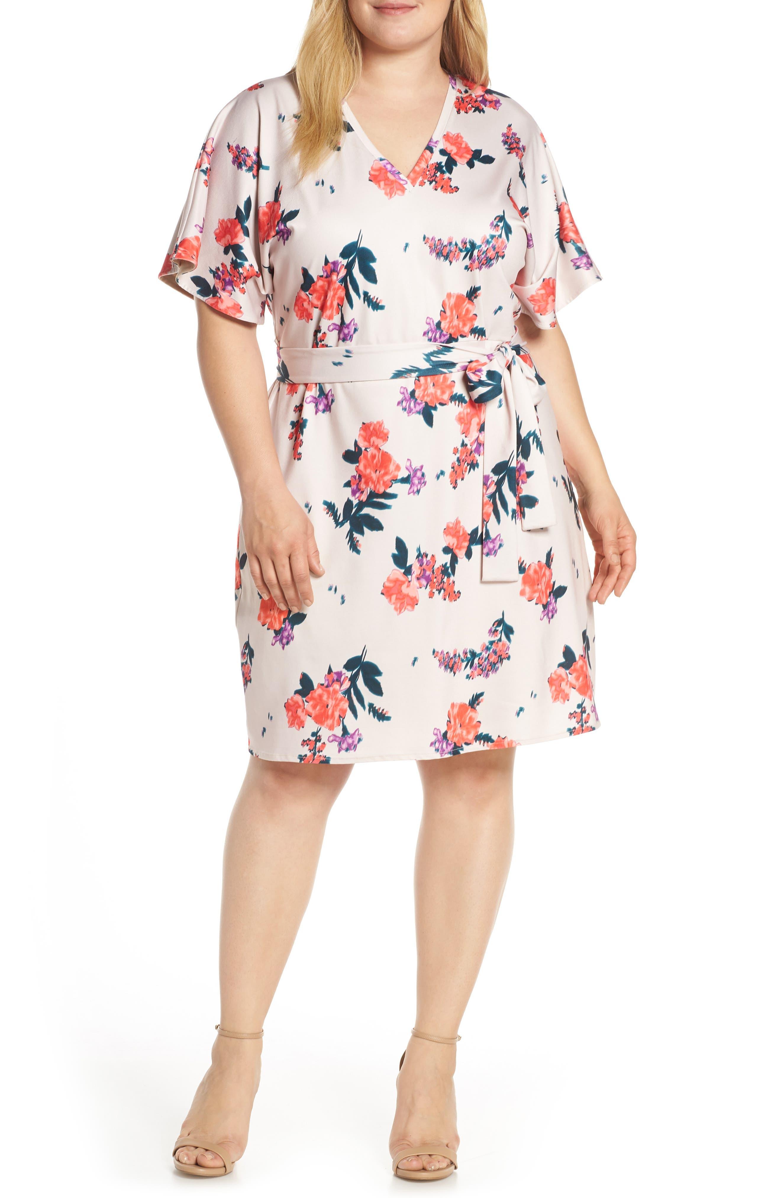 Plus Size Rachel Roy Andrea Tie Waist Dress, Pink