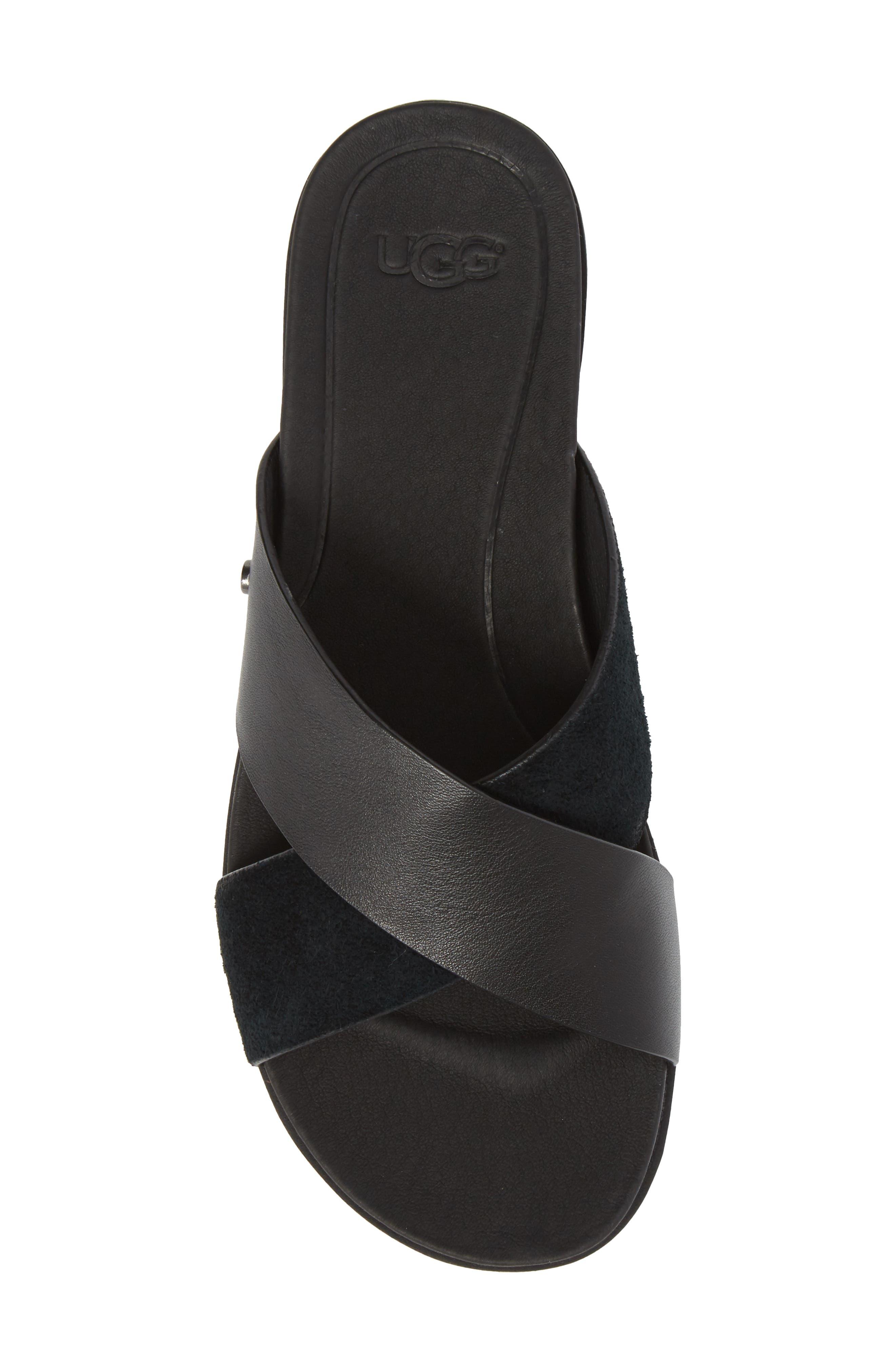 UGG<SUP>®</SUP>, 'Kari' Sandal, Alternate thumbnail 5, color, BLACK