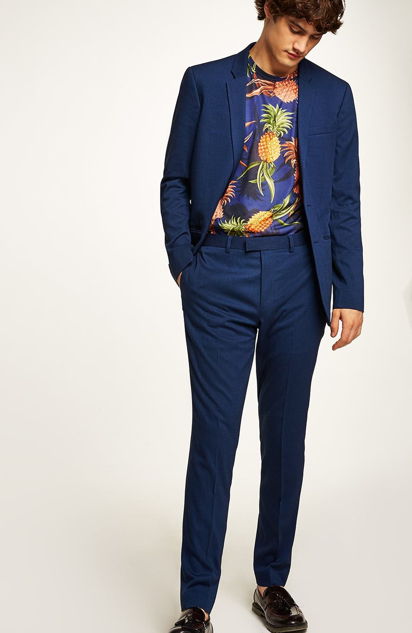 TOPMAN, Skinny Fit Suit Pants, Alternate thumbnail 7, color, MID BLUE