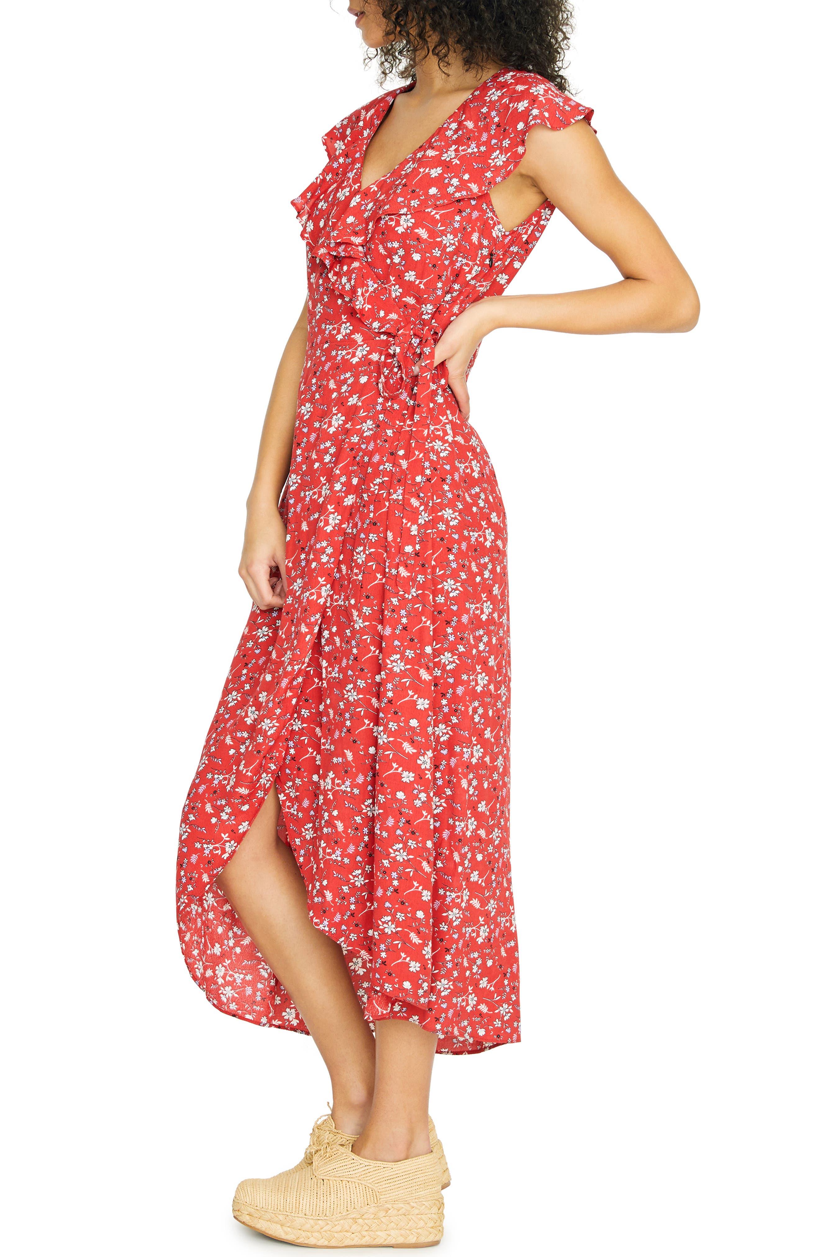 SANCTUARY, Jolynn Faux Wrap Midi Dress, Alternate thumbnail 4, color, SIMPLY RED
