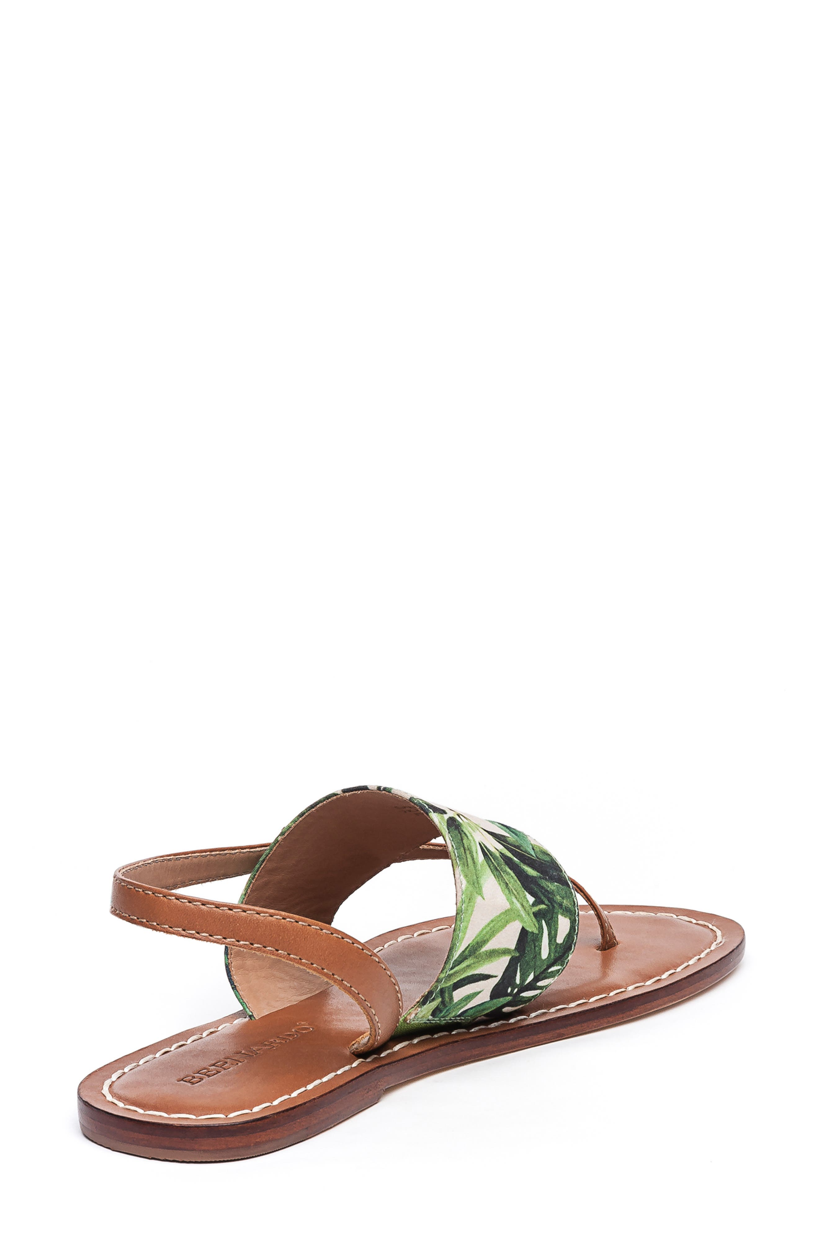 BERNARDO, Footwear Meg Thong Sandal, Alternate thumbnail 2, color, PALM FABRIC/ LUGGAGE LEATHER