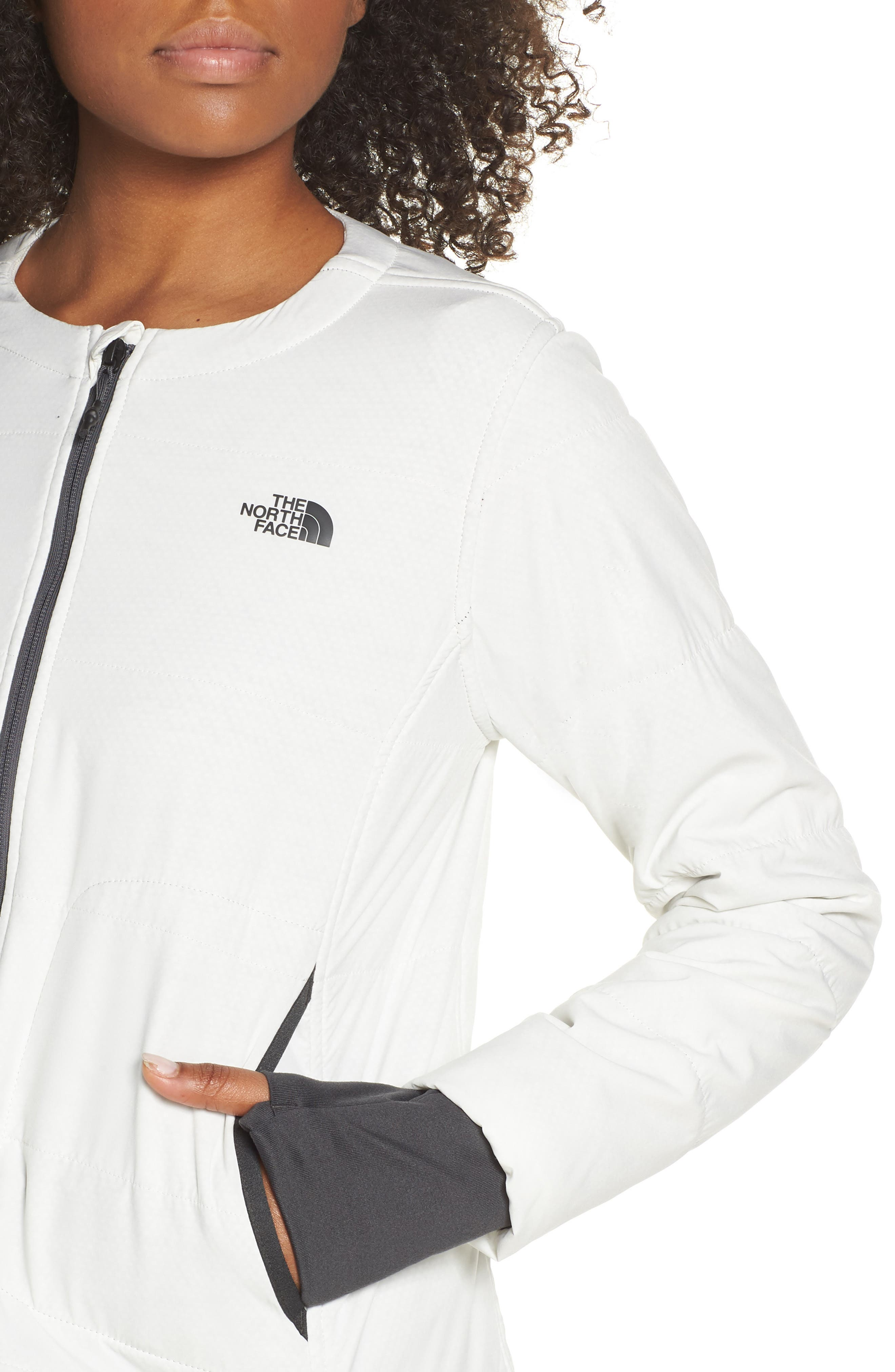 THE NORTH FACE, Mountain Insulated Collarless Zip Jacket, Alternate thumbnail 5, color, 050