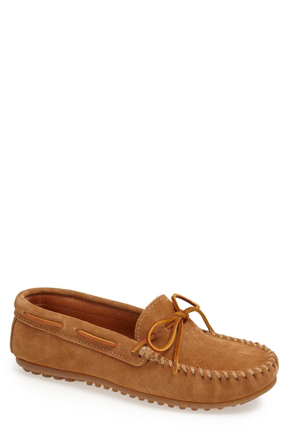 MINNETONKA, Suede Driving Shoe, Main thumbnail 1, color, TAUPE