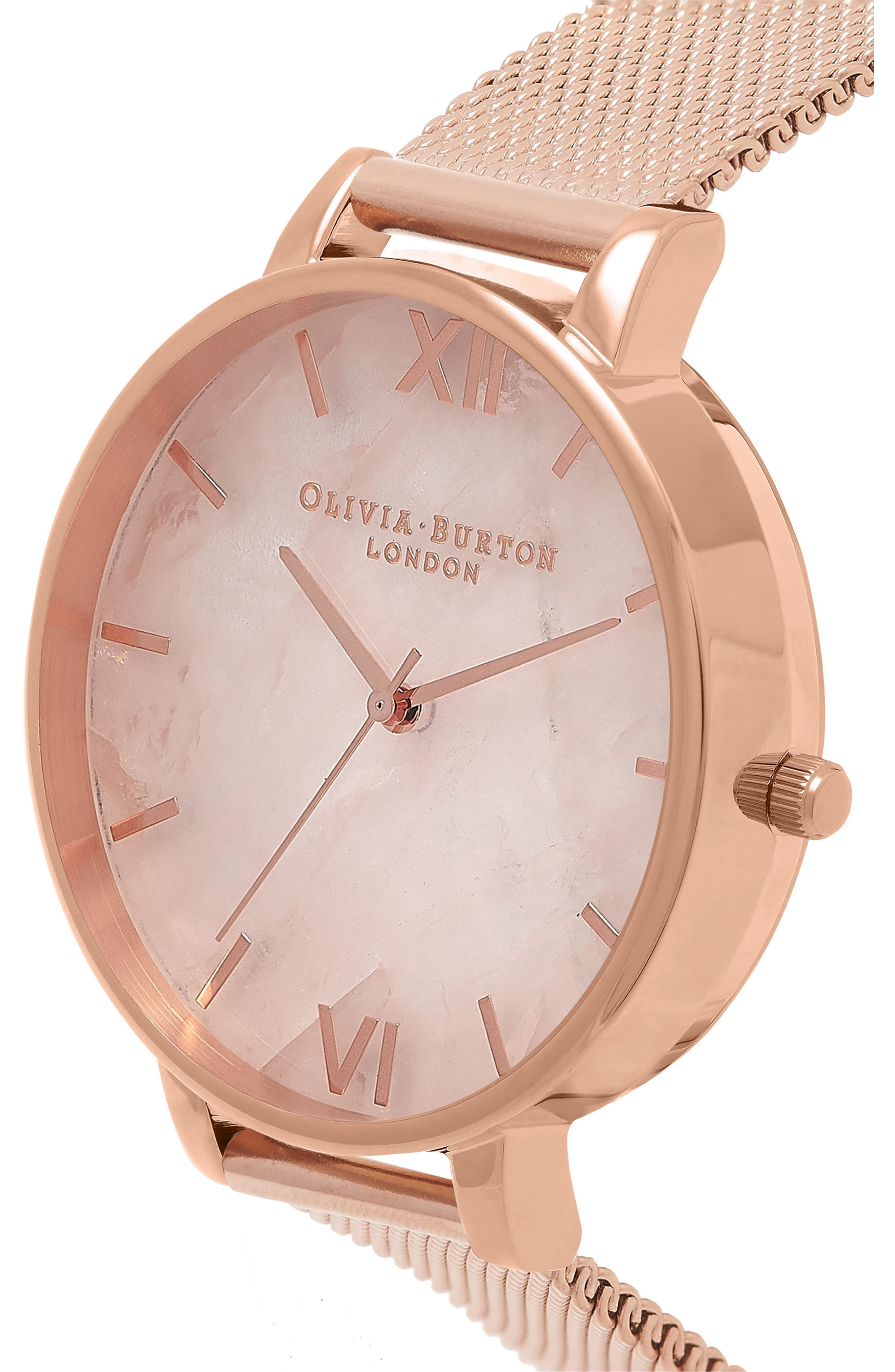 OLIVIA BURTON, Mesh Strap Watch, 38mm, Alternate thumbnail 4, color, ROSE GOLD