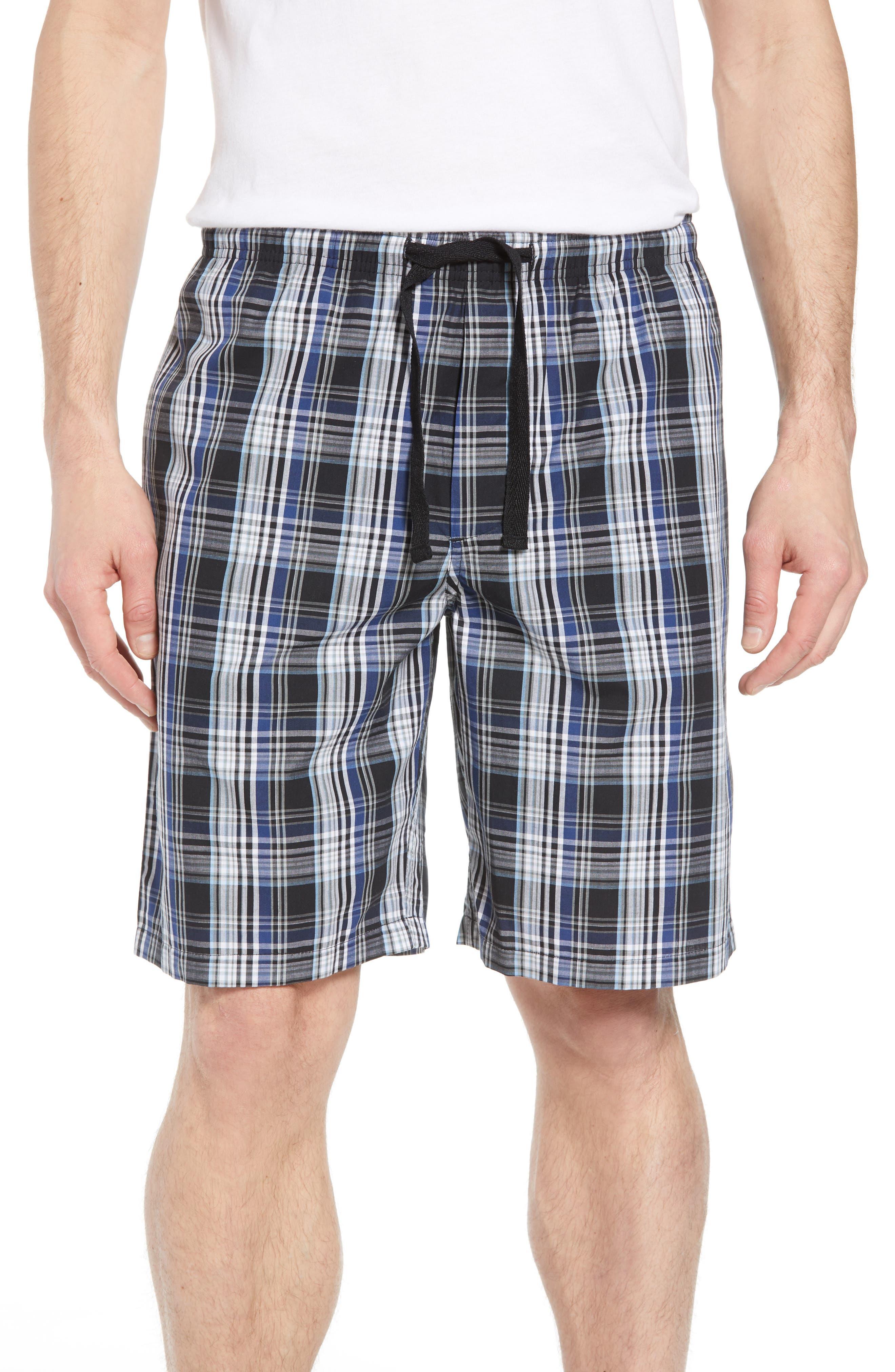 NORDSTROM MEN'S SHOP, Poplin Lounge Shorts, Main thumbnail 1, color, BLACK TWILIGHT BLUE PLAID