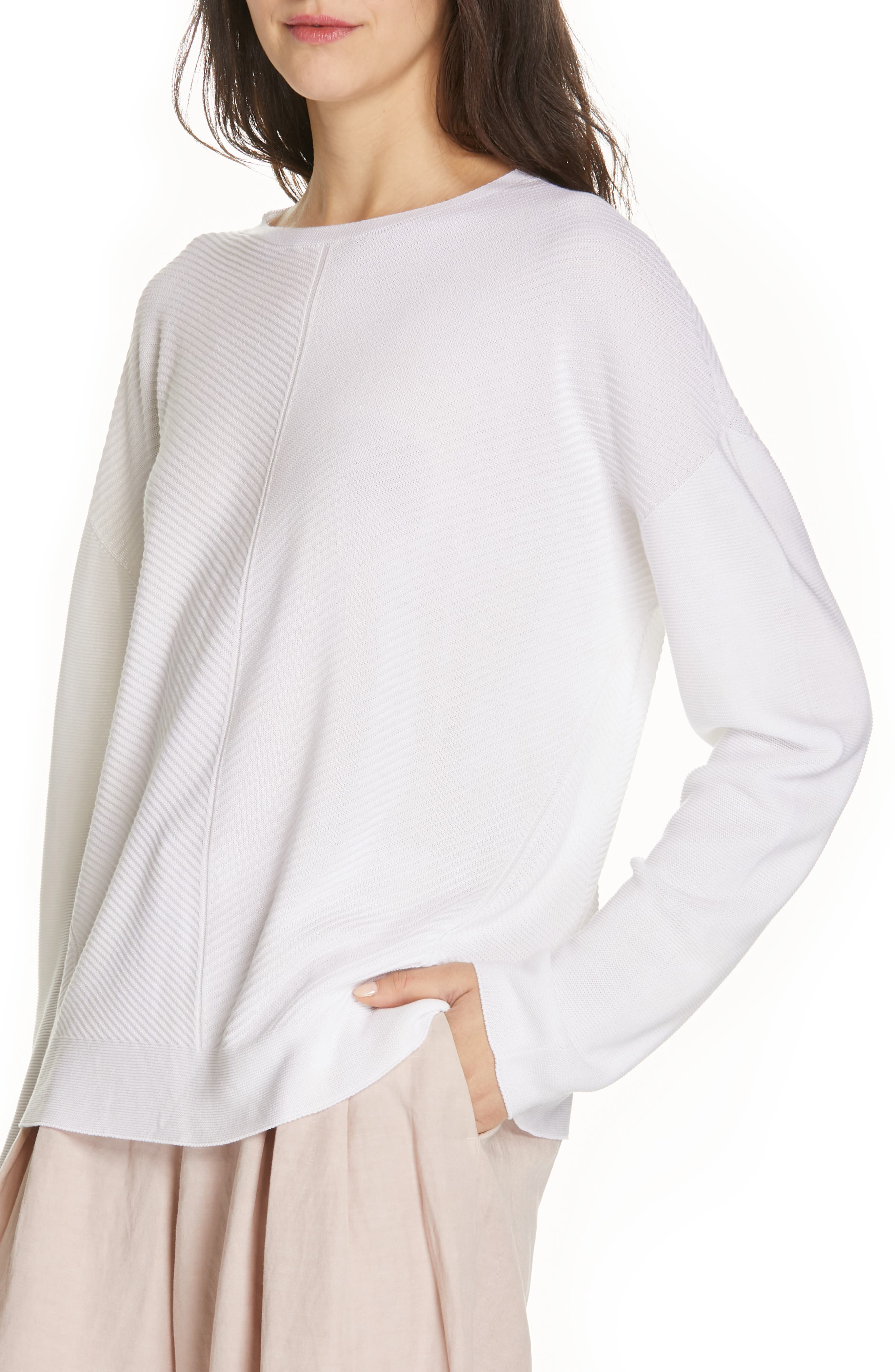 EILEEN FISHER, Round Neck Top, Alternate thumbnail 4, color, 103