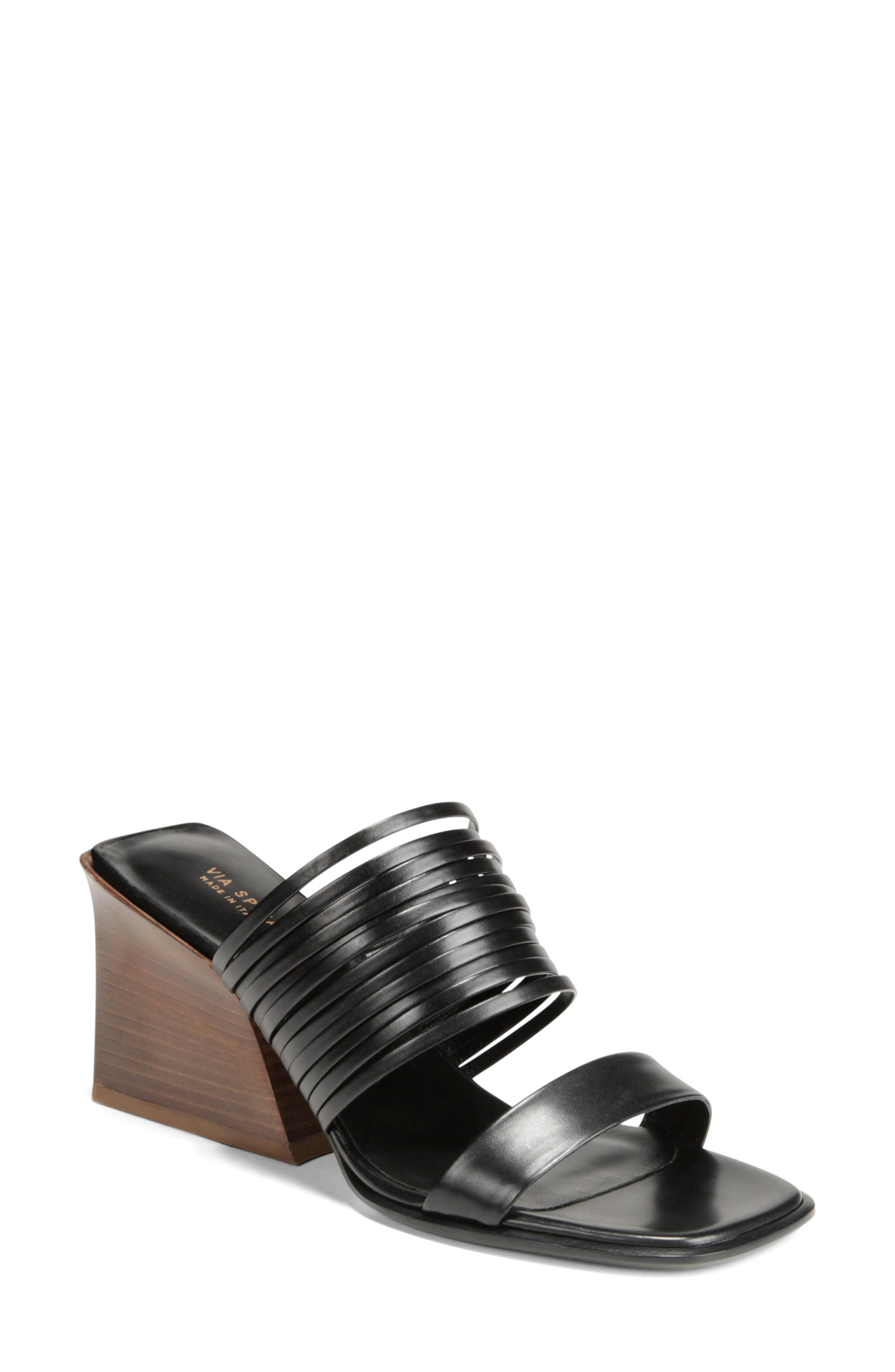 VIA SPIGA Mariam Slide Sandal, Main, color, BLACK