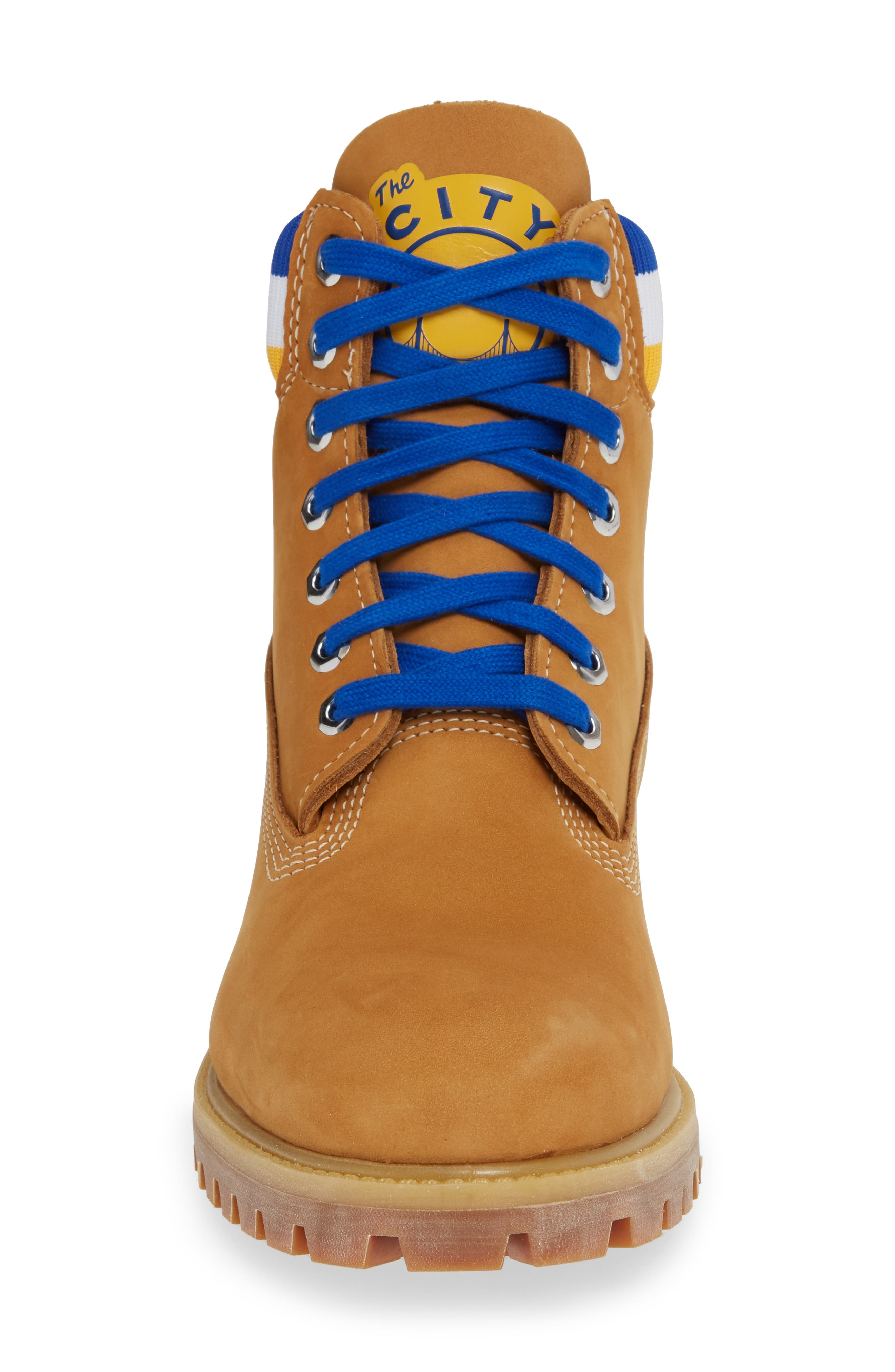 TIMBERLAND, Premium NBA Collection Boot, Alternate thumbnail 4, color, WHEAT NUBUCK/ GOLDEN STATE