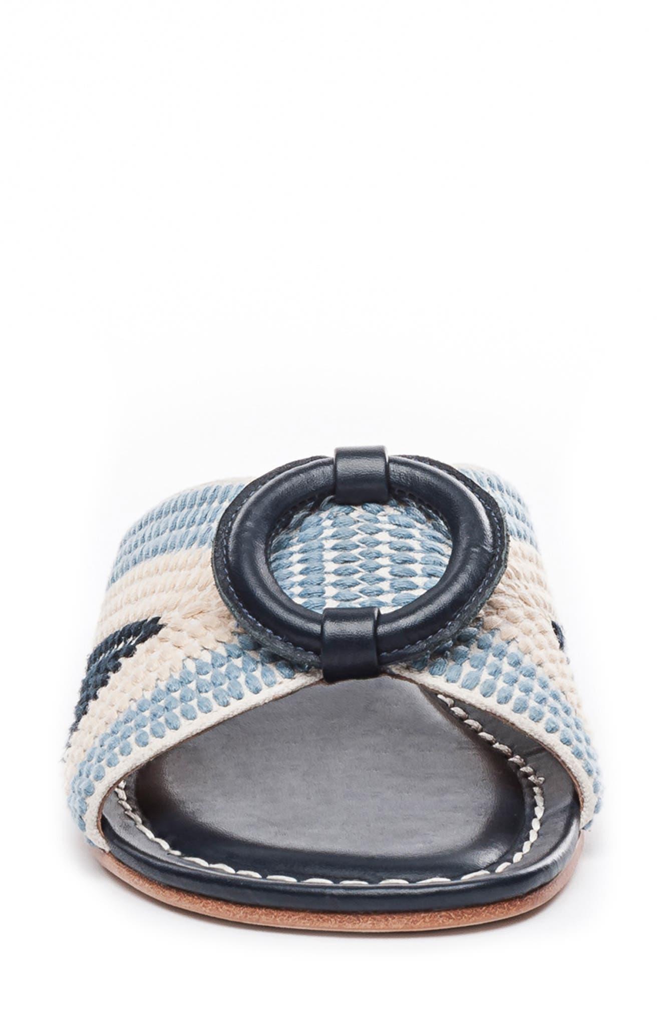 BERNARDO, Footwear Tay Slide Sandal, Alternate thumbnail 4, color, BLUE/ CREAM LEATHER