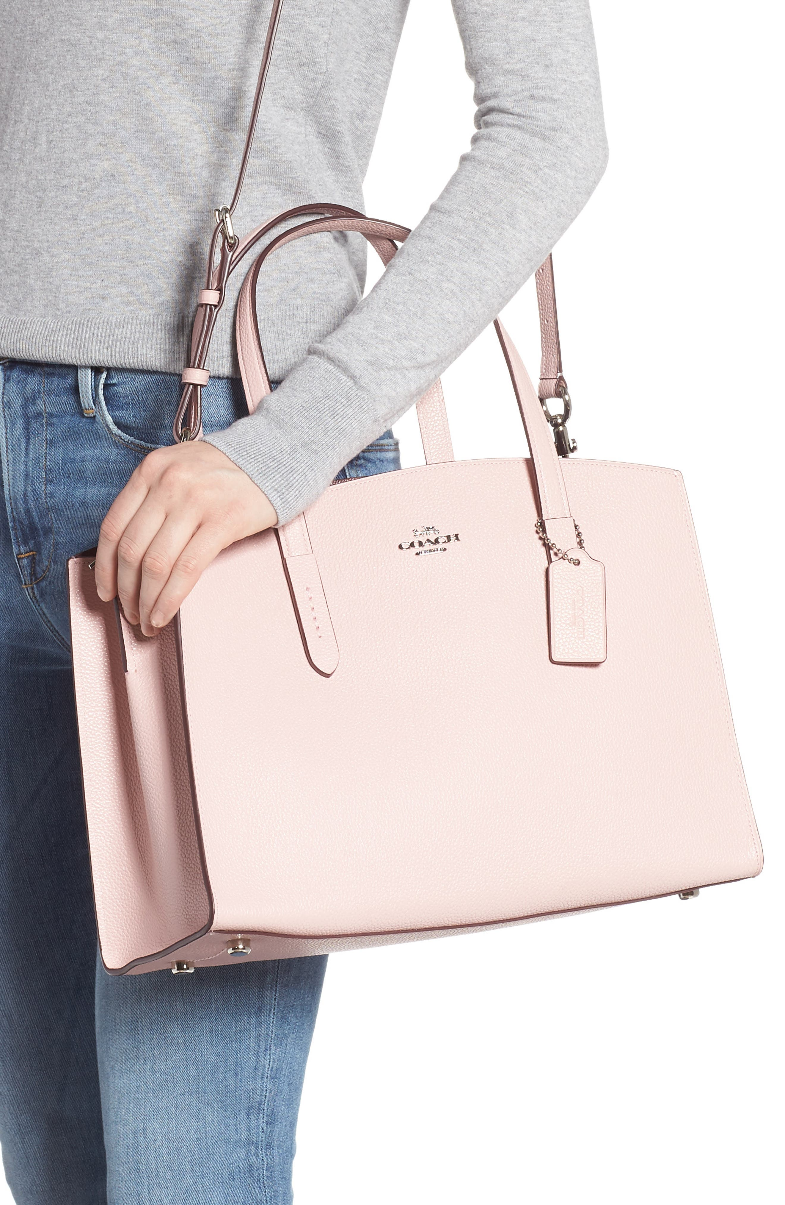 COACH, Charlie Leather Tote, Alternate thumbnail 2, color, BLOSSOM/ SILVER