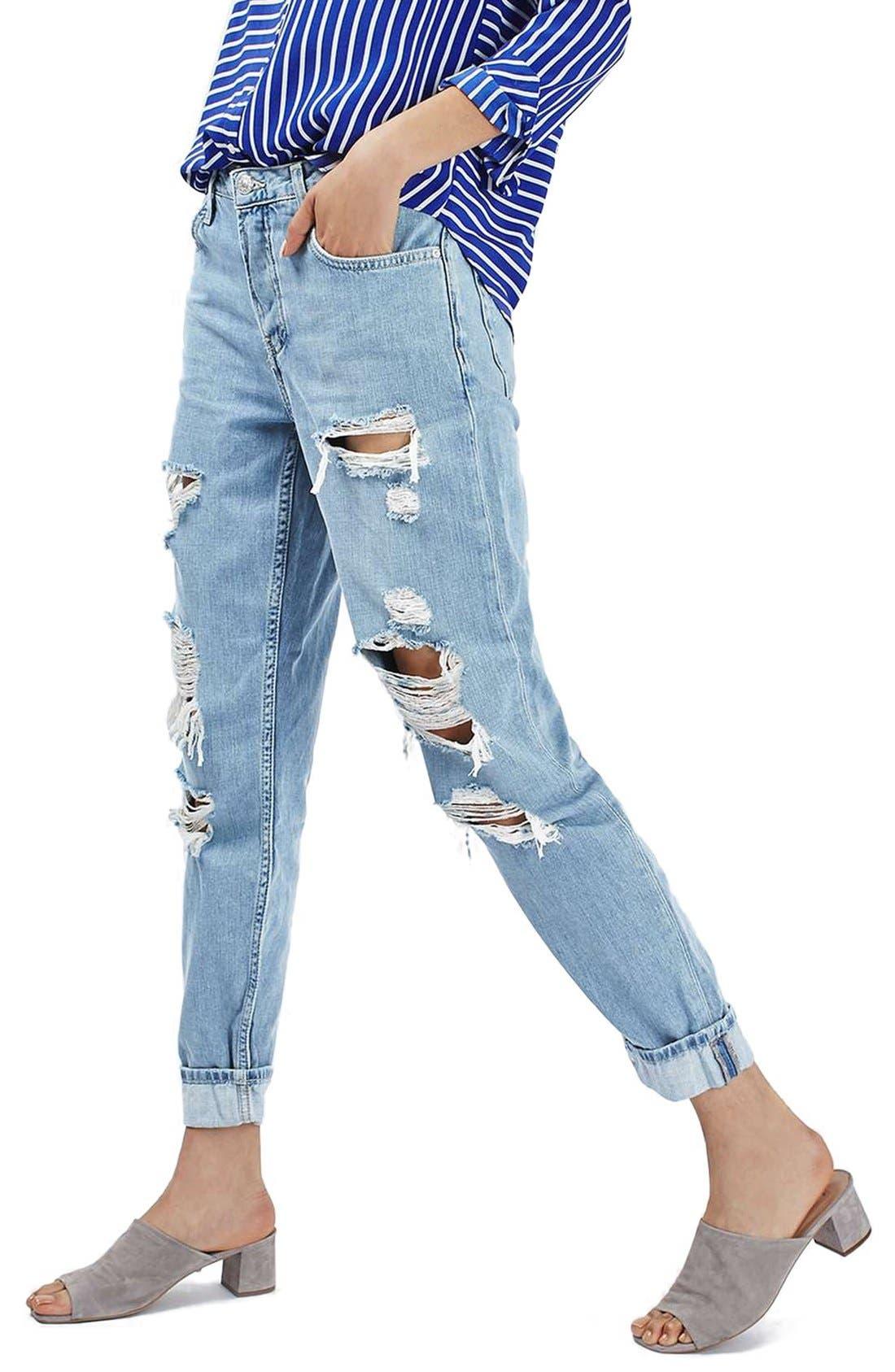 TOPSHOP, 'Hayden' Super Ripped Boyfriend Jeans, Main thumbnail 1, color, 420