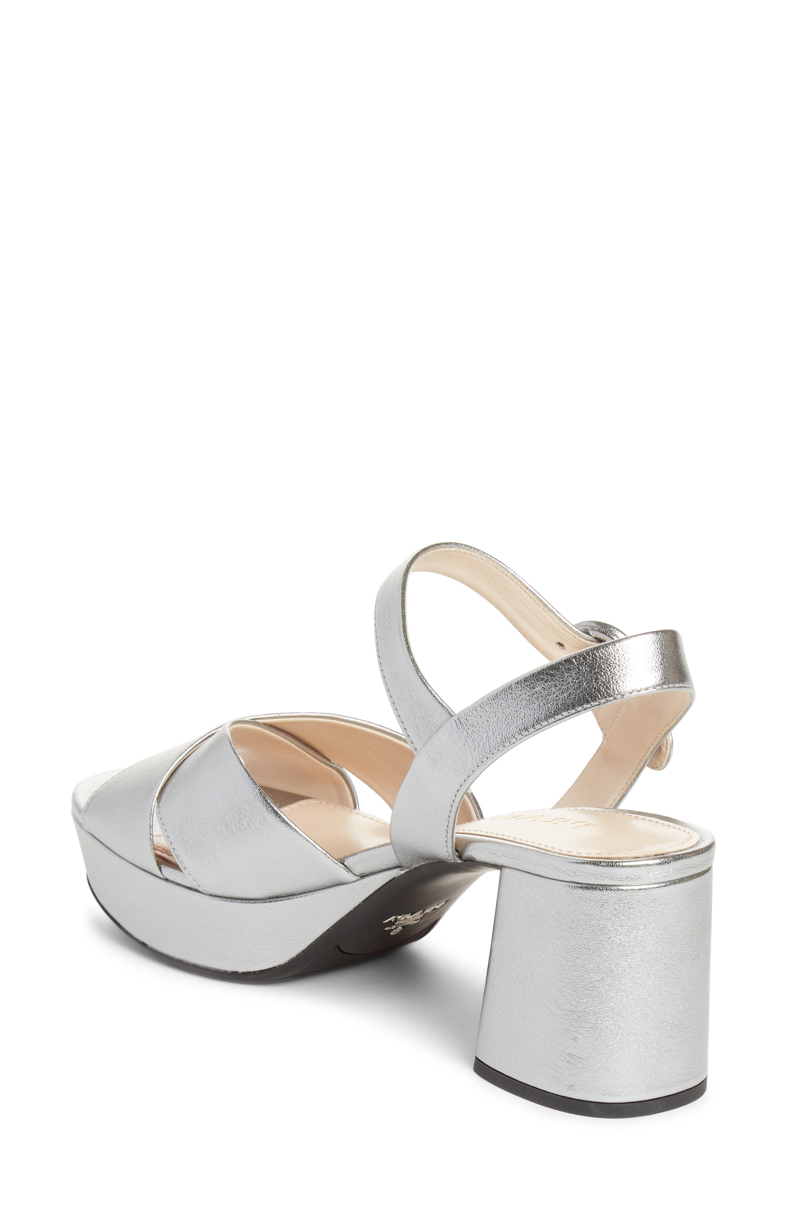 PRADA, Quarter Strap Platform Sandal, Alternate thumbnail 2, color, SILVER