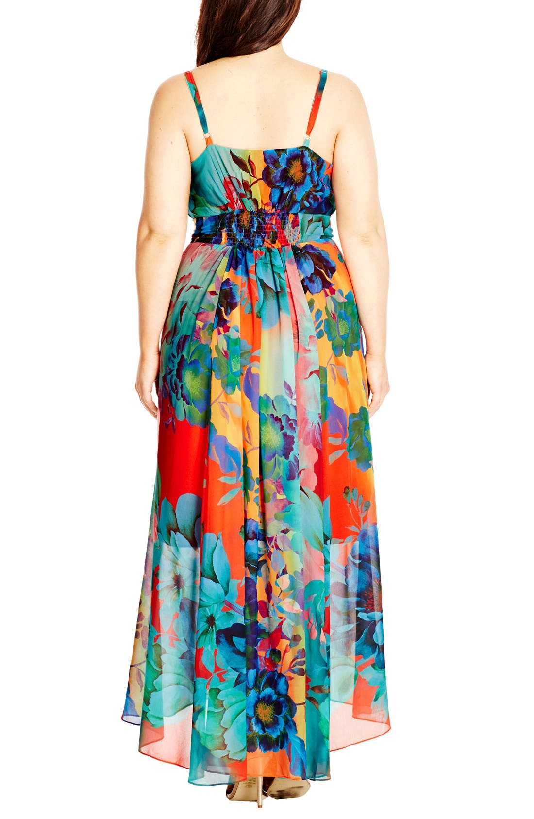 CITY CHIC, 'Hot Summer Days' Print High/Low Maxi Dress, Alternate thumbnail 2, color, CORAL