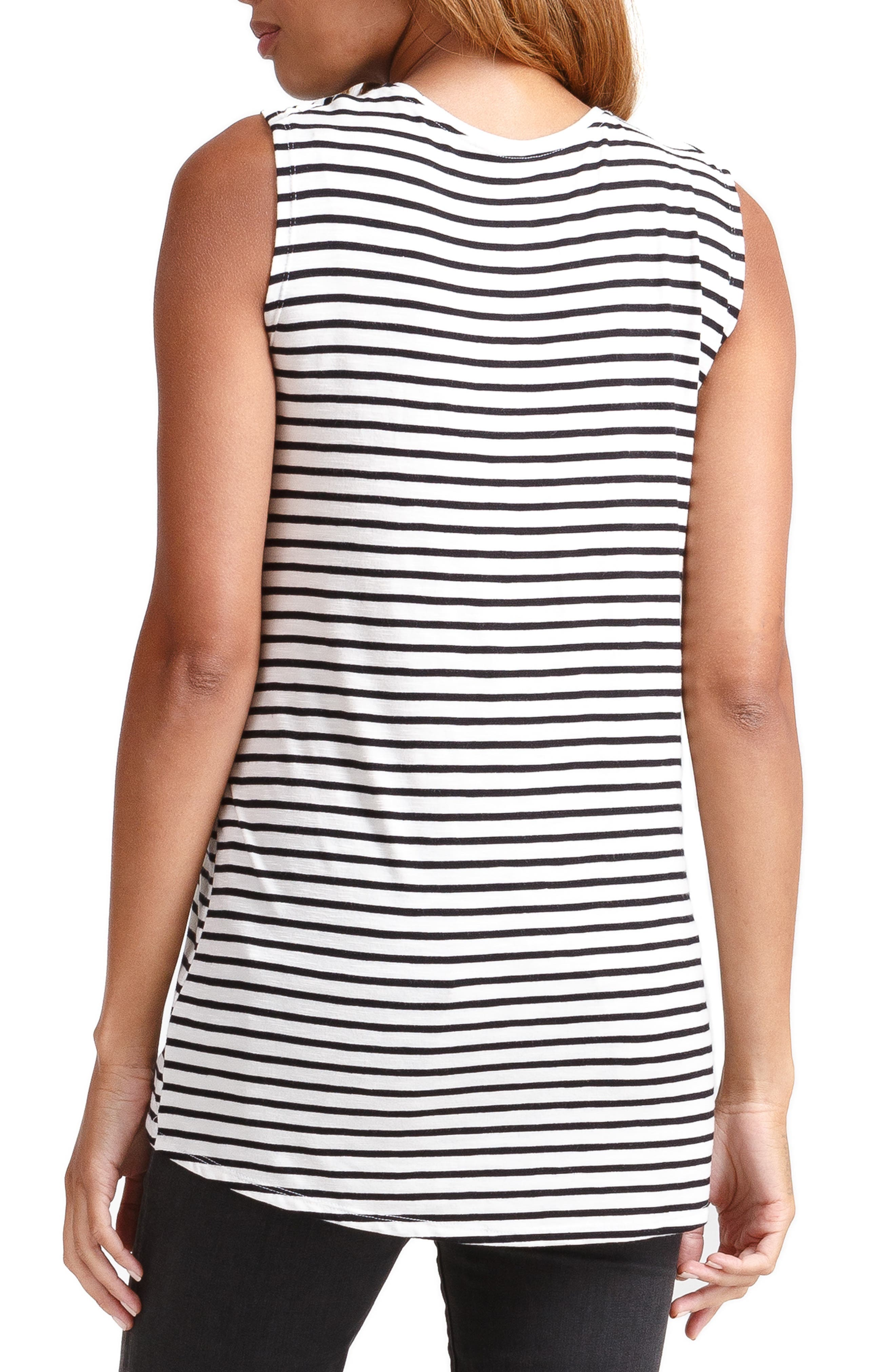 INGRID & ISABEL<SUP>®</SUP>, Cross Front Maternity/Nursing Top, Alternate thumbnail 2, color, BLACK/ WHITE STRIPE