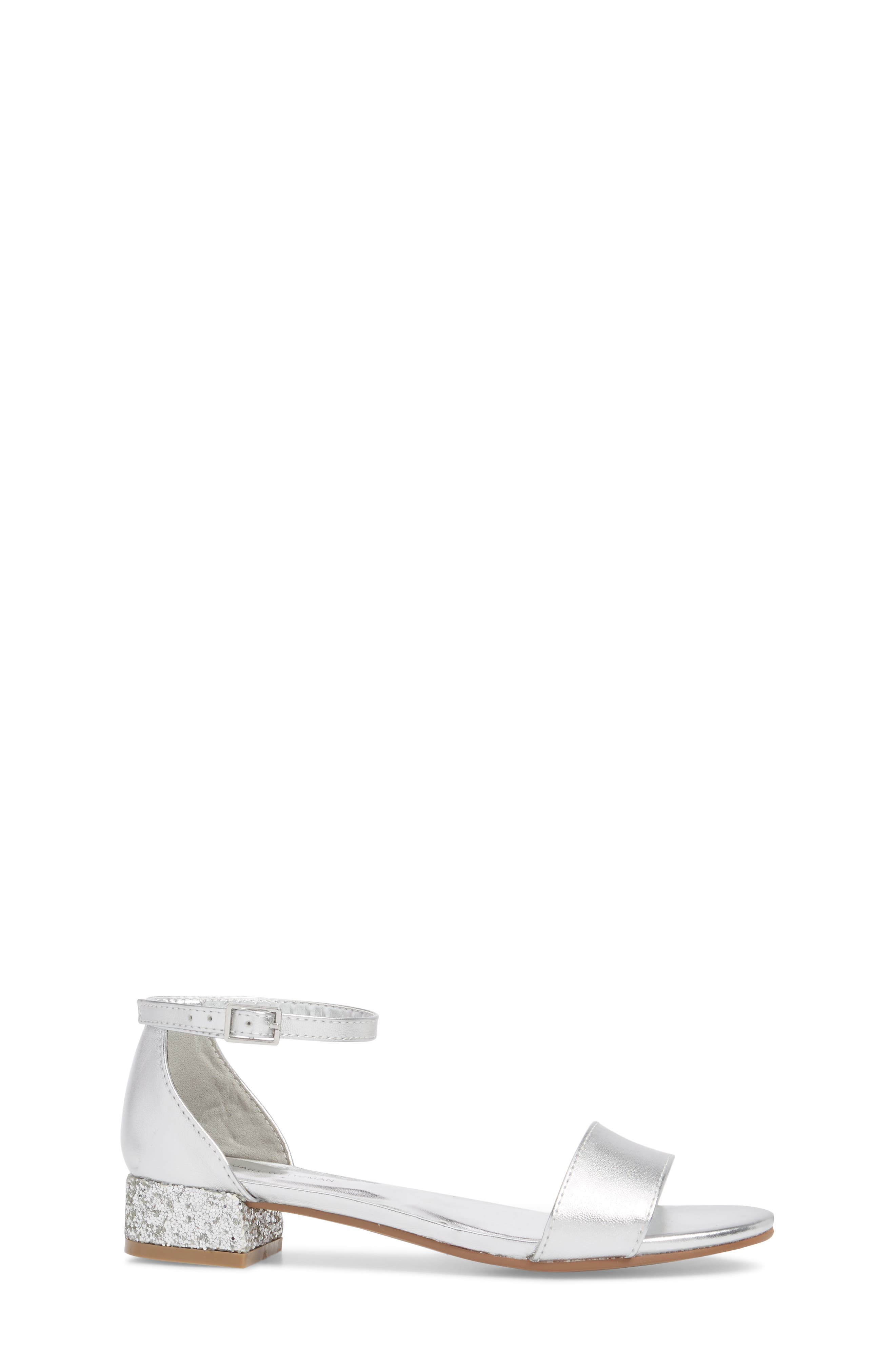 STUART WEITZMAN, Penelope Glitter Heel Sandal, Alternate thumbnail 3, color, SILVER