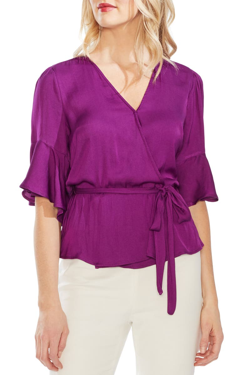 Vince Camuto Tops RUFFLE SLEEVE RUMPLED BLOUSE