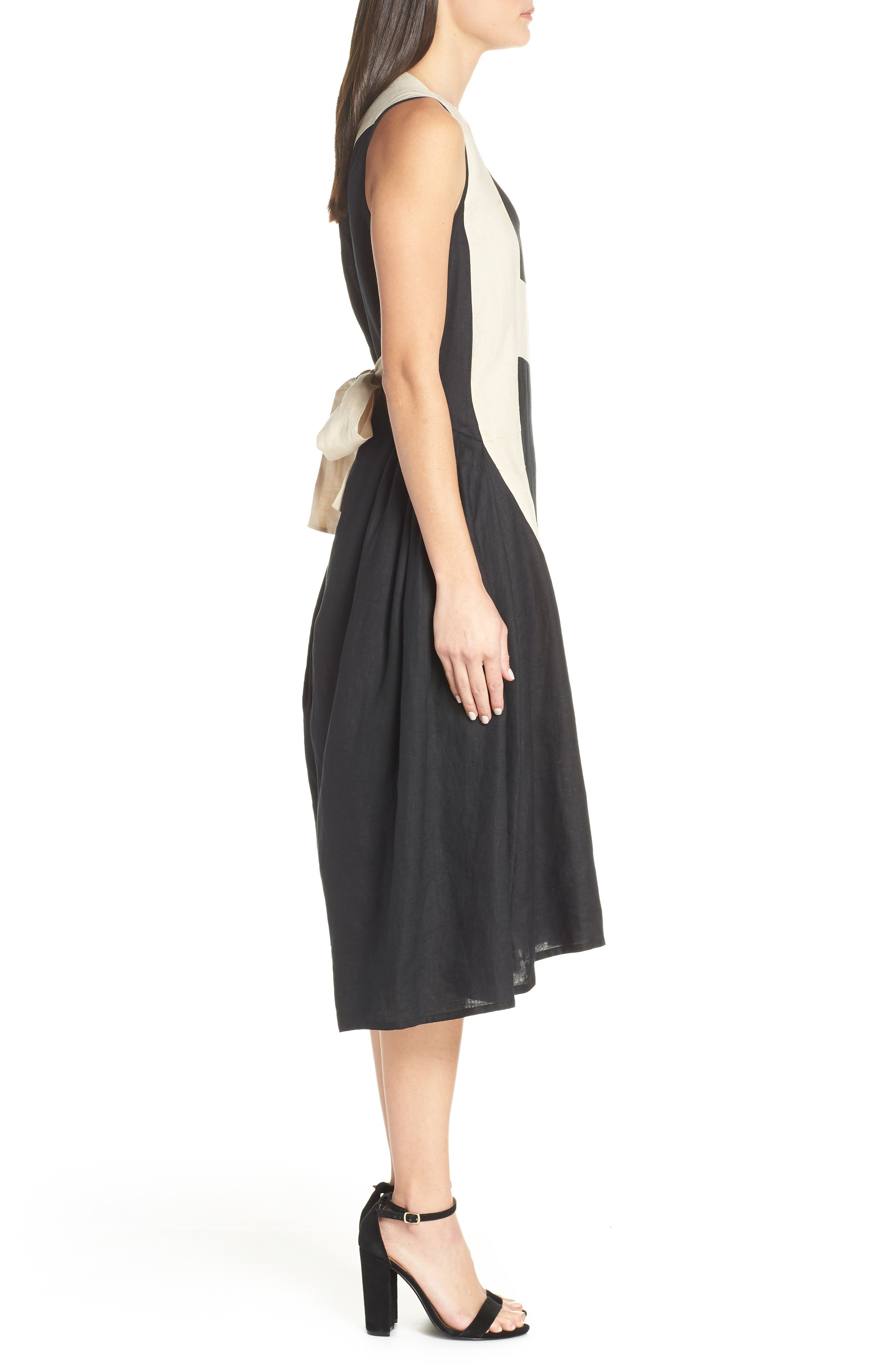 CAARA, Betha Colorblock Tie Back Dress, Alternate thumbnail 4, color, 001