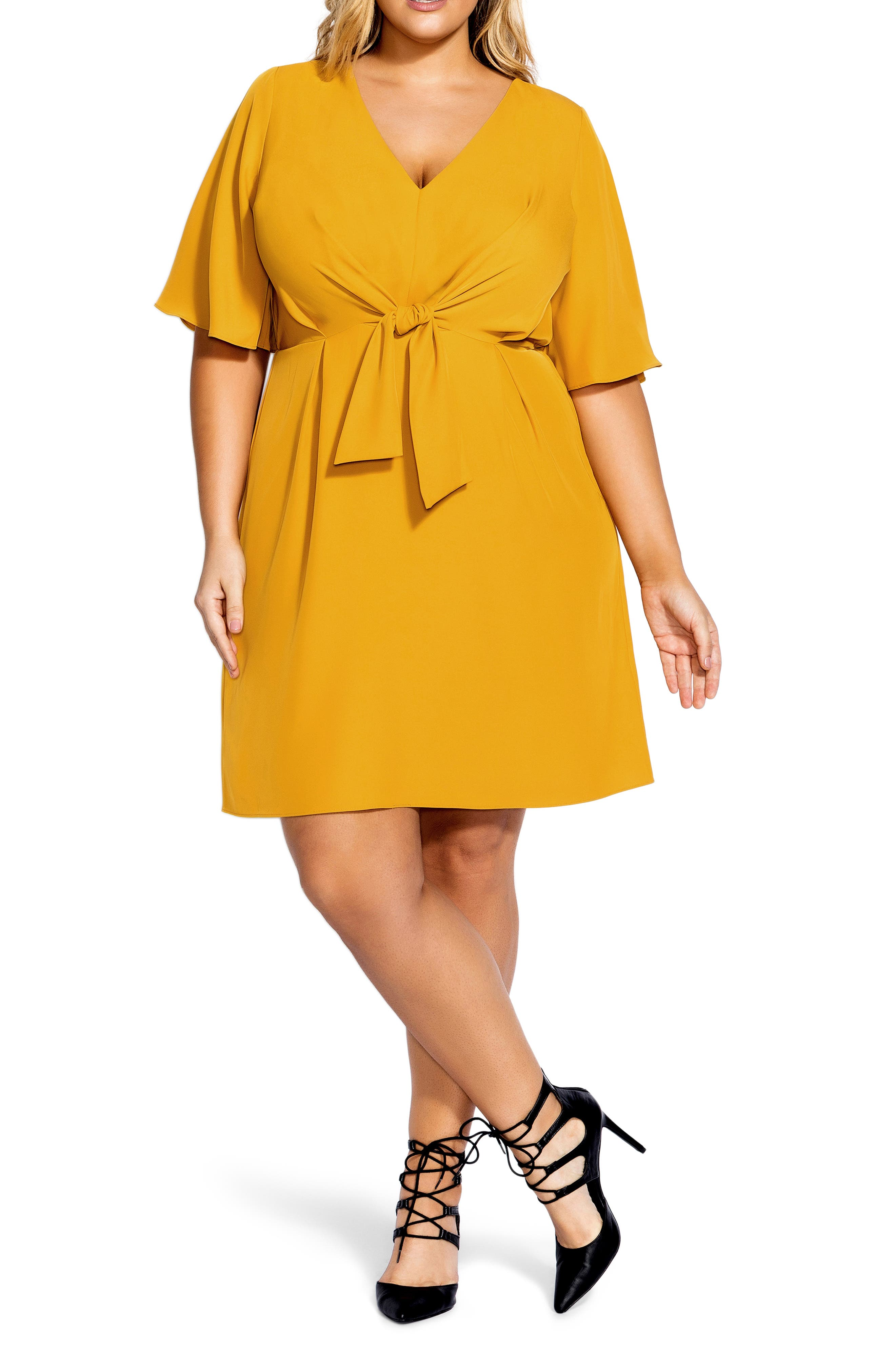 Plus Size City Chic Knot Front Dress, Yellow