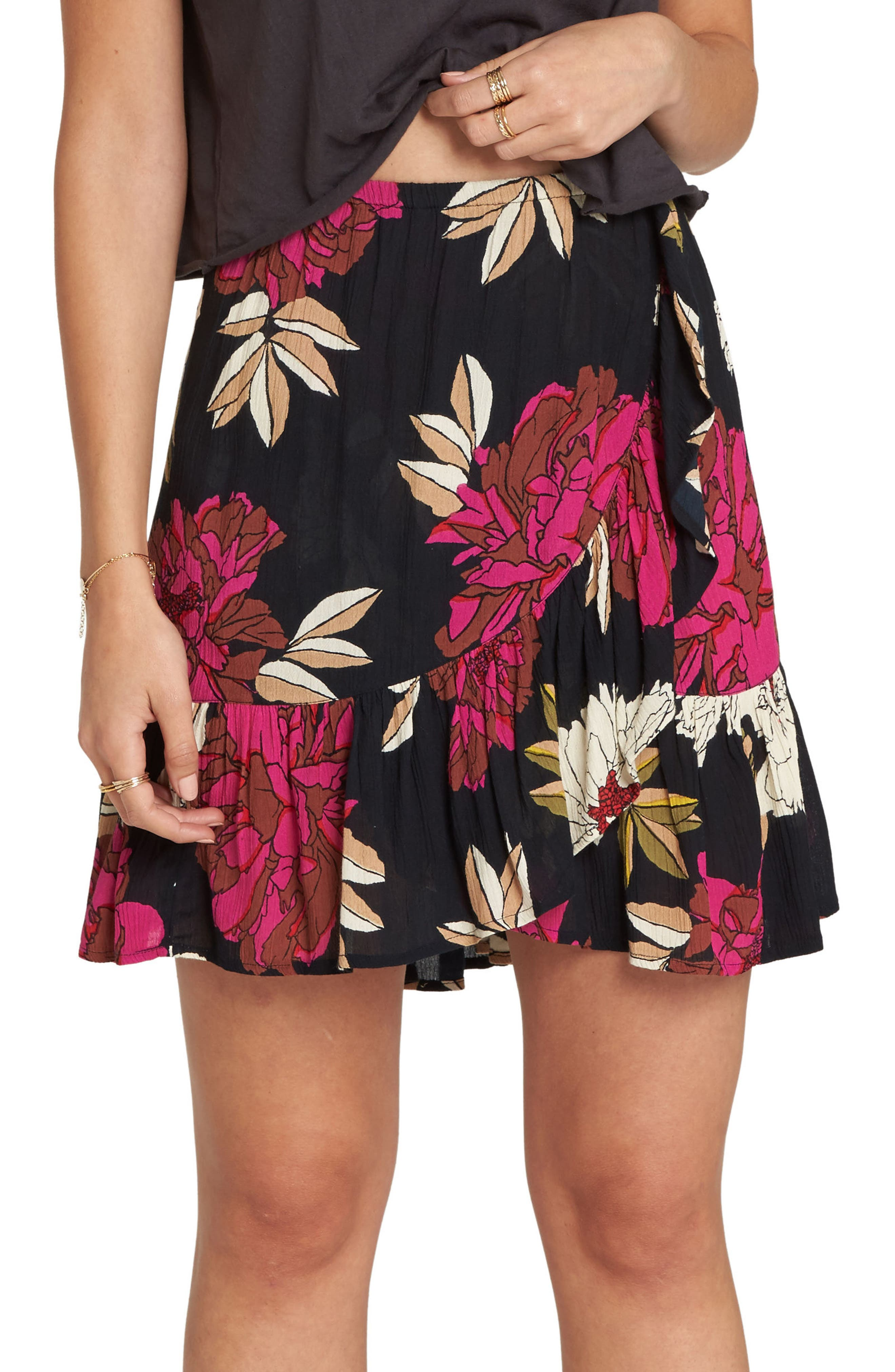 BILLABONG For the Ride Floral Print Faux Wrap Skirt, Main, color, 001