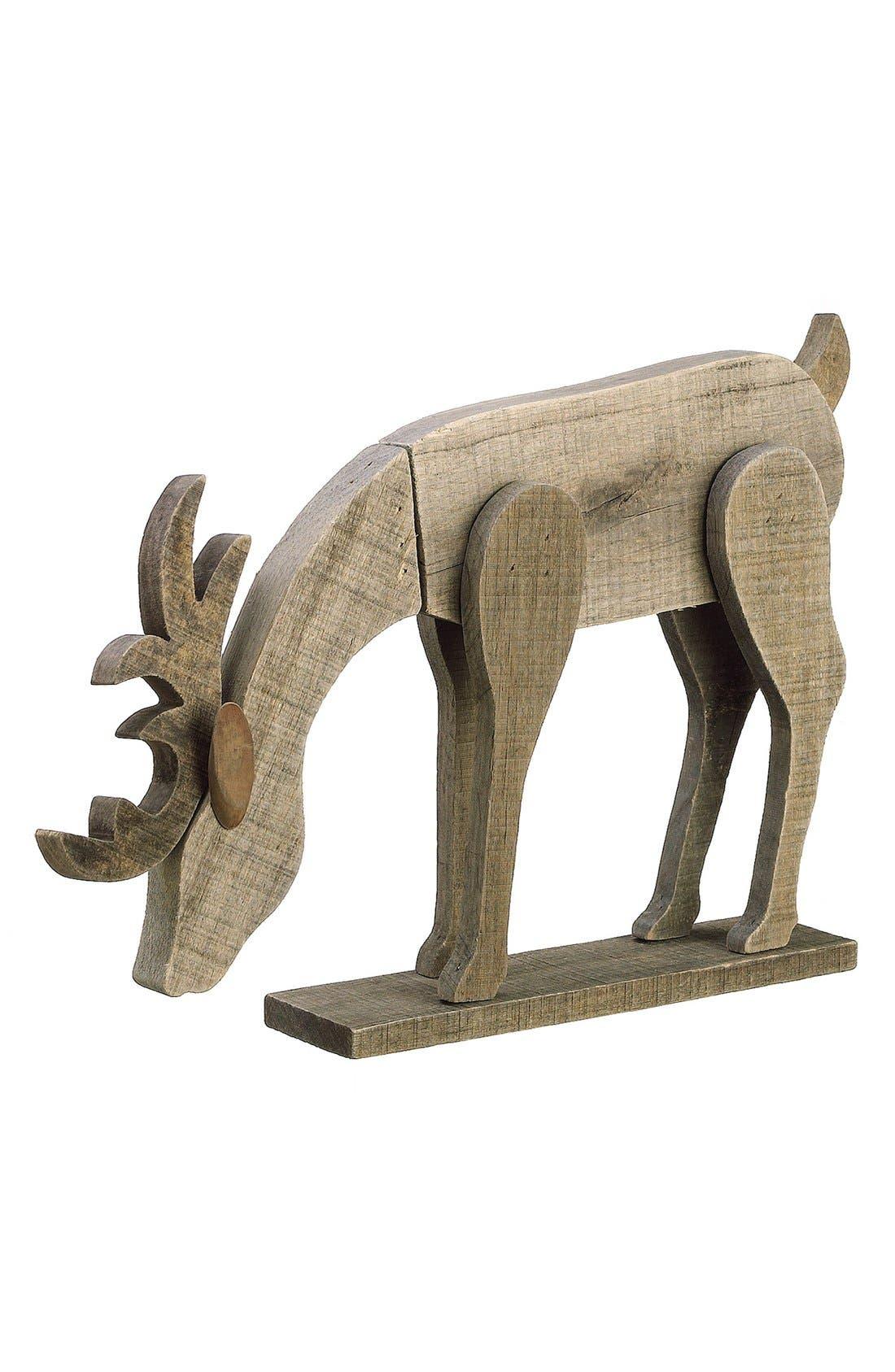 ALLSTATE, Wood Reindeer Figurine, Main thumbnail 1, color, 240