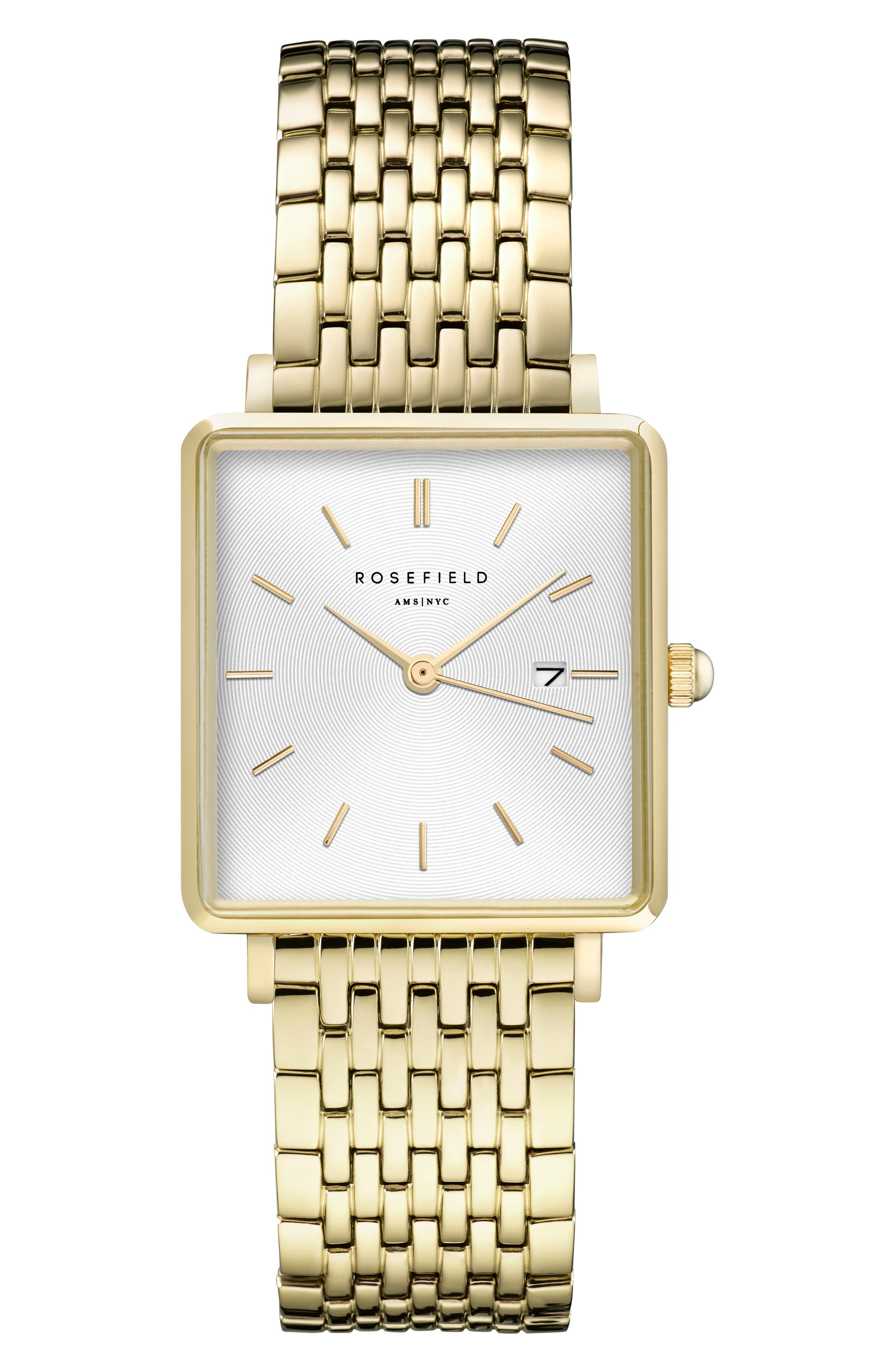 ROSEFIELD, The Boxy Bracelet Watch, 26mm x 28mm, Main thumbnail 1, color, GOLD/ WHITE SUNRAY/ GOLD