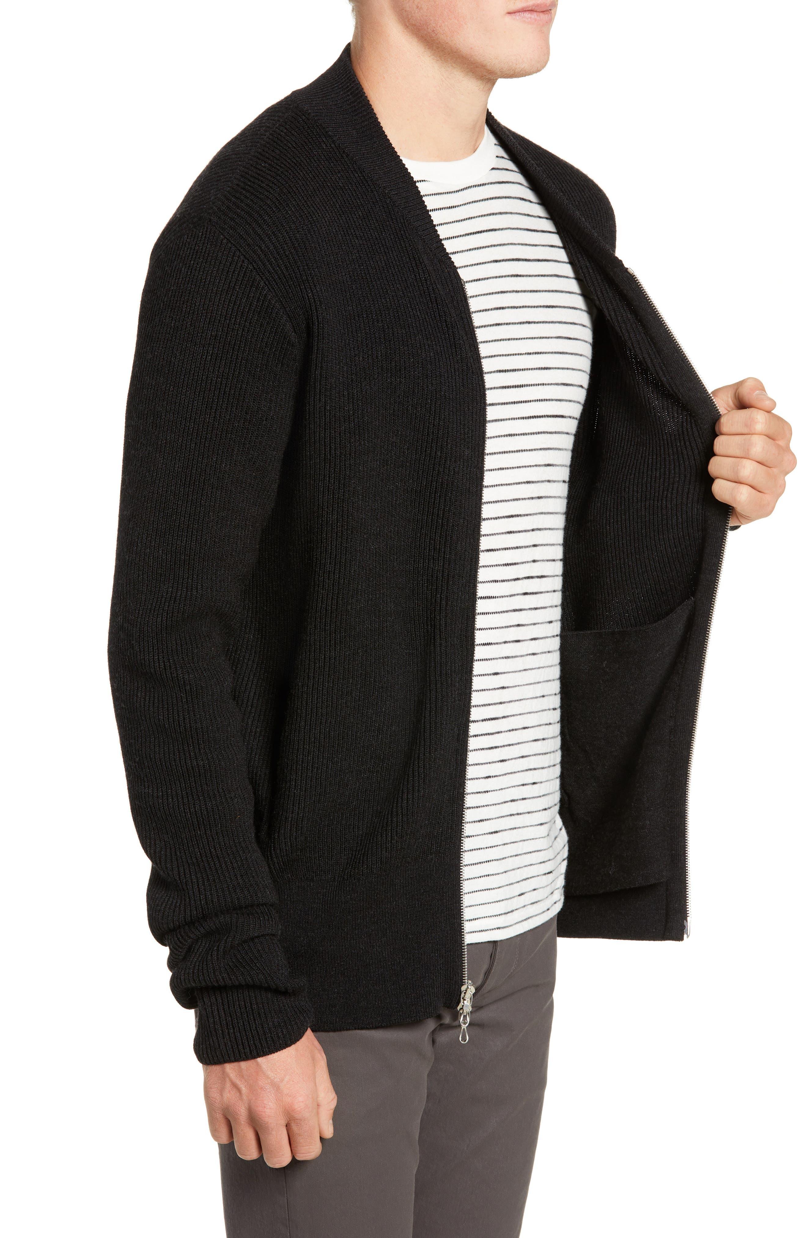 RAG & BONE, Andrew Zip Front Merino Wool Sweater, Alternate thumbnail 3, color, BLACK HEATHER