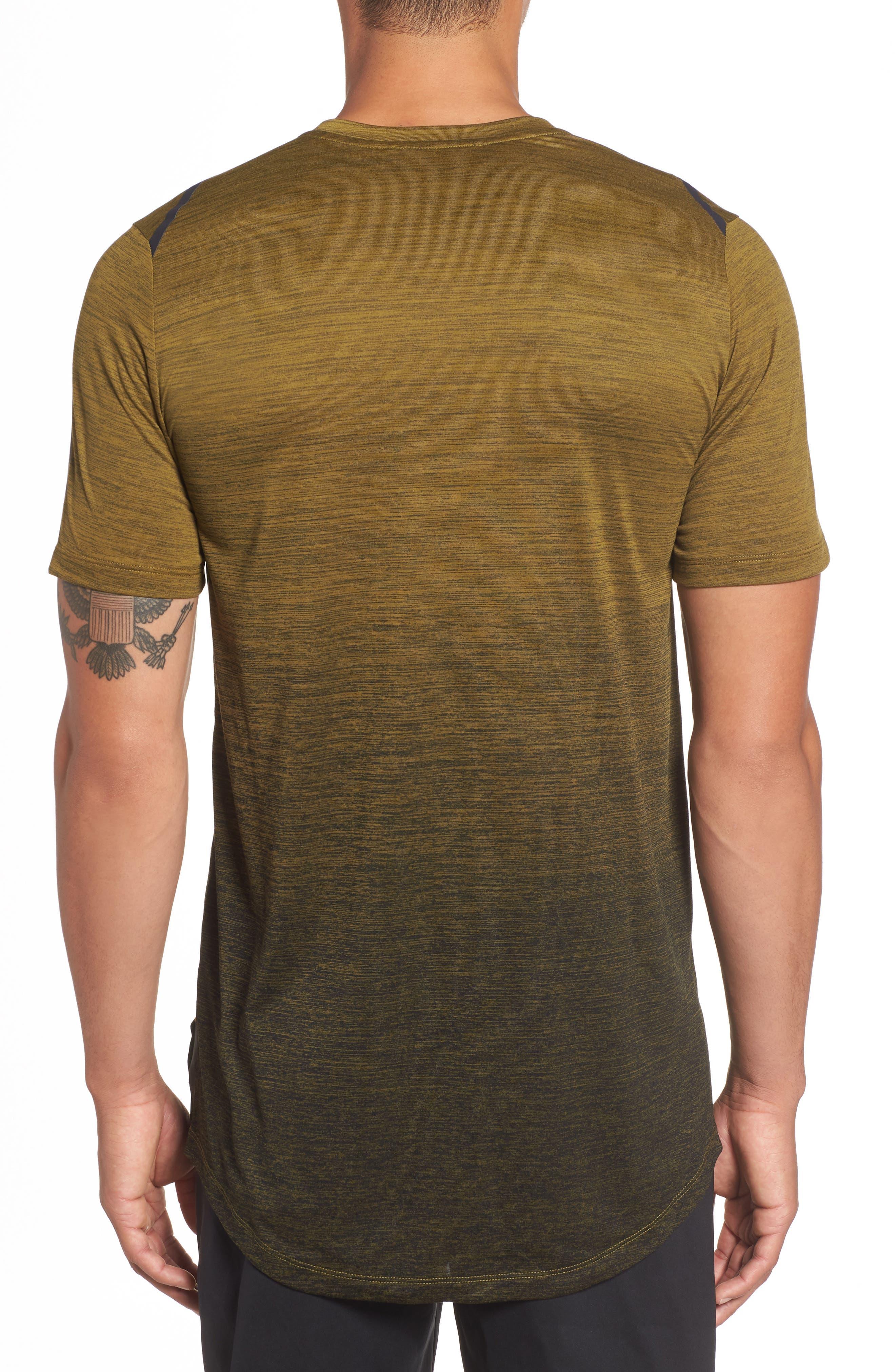 NIKE, Dry Max Training T-Shirt, Alternate thumbnail 2, color, OLIVE FLAK/ BLACK/ COBALT