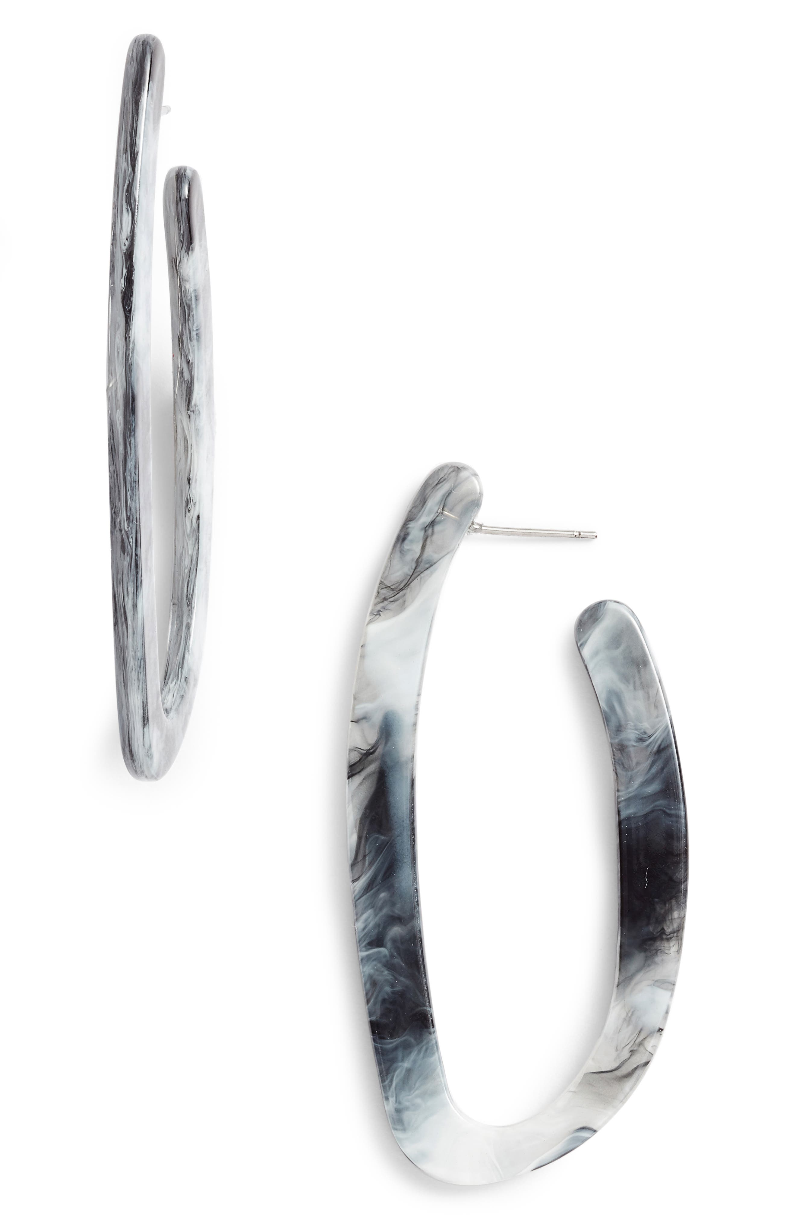 HALOGEN<SUP>®</SUP>, Hacked Classic Elongated Hoop Earrings, Main thumbnail 1, color, 001