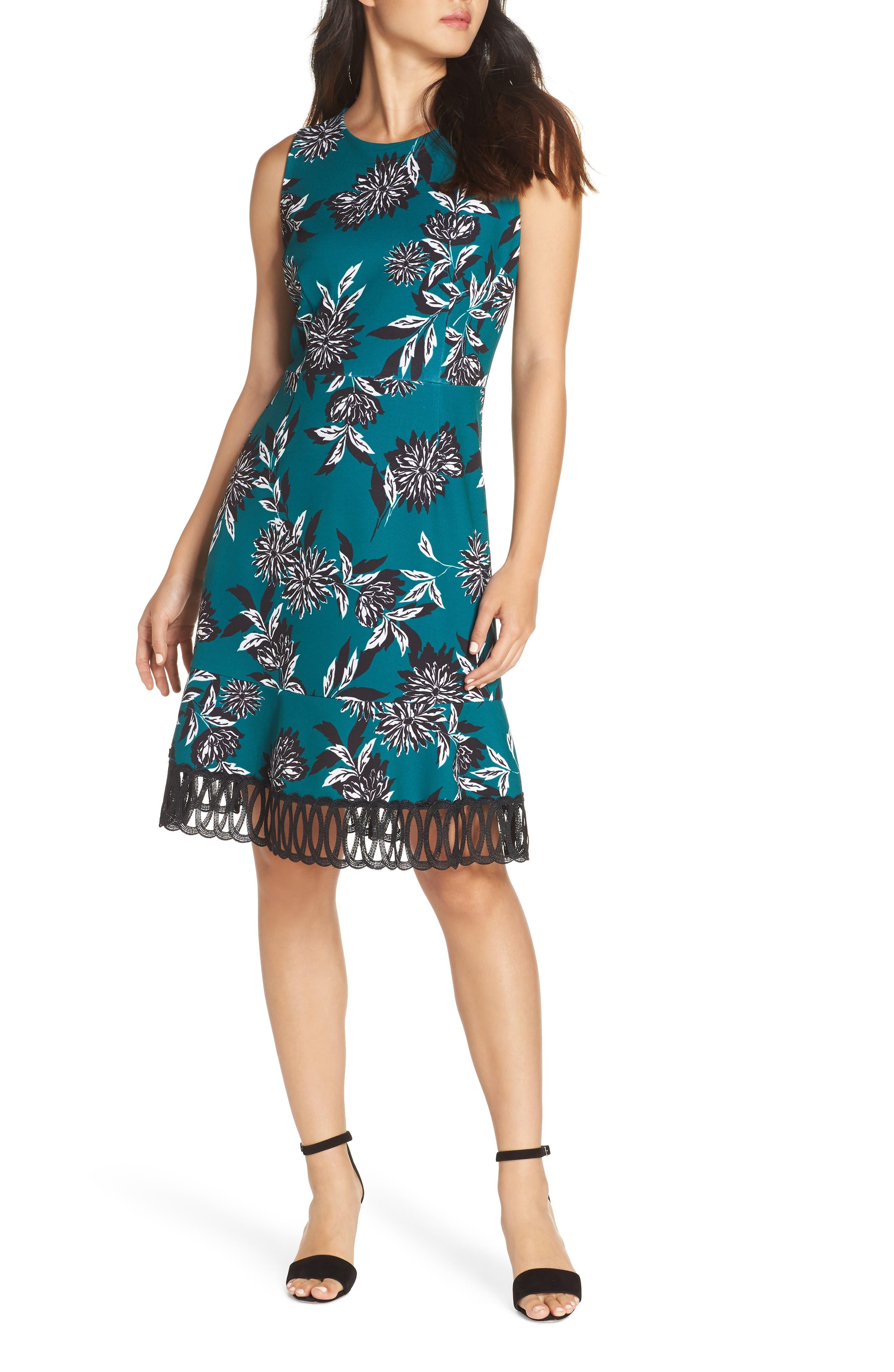 JULIA JORDAN, Crepe Scuba A-Line Dress, Main thumbnail 1, color, 300