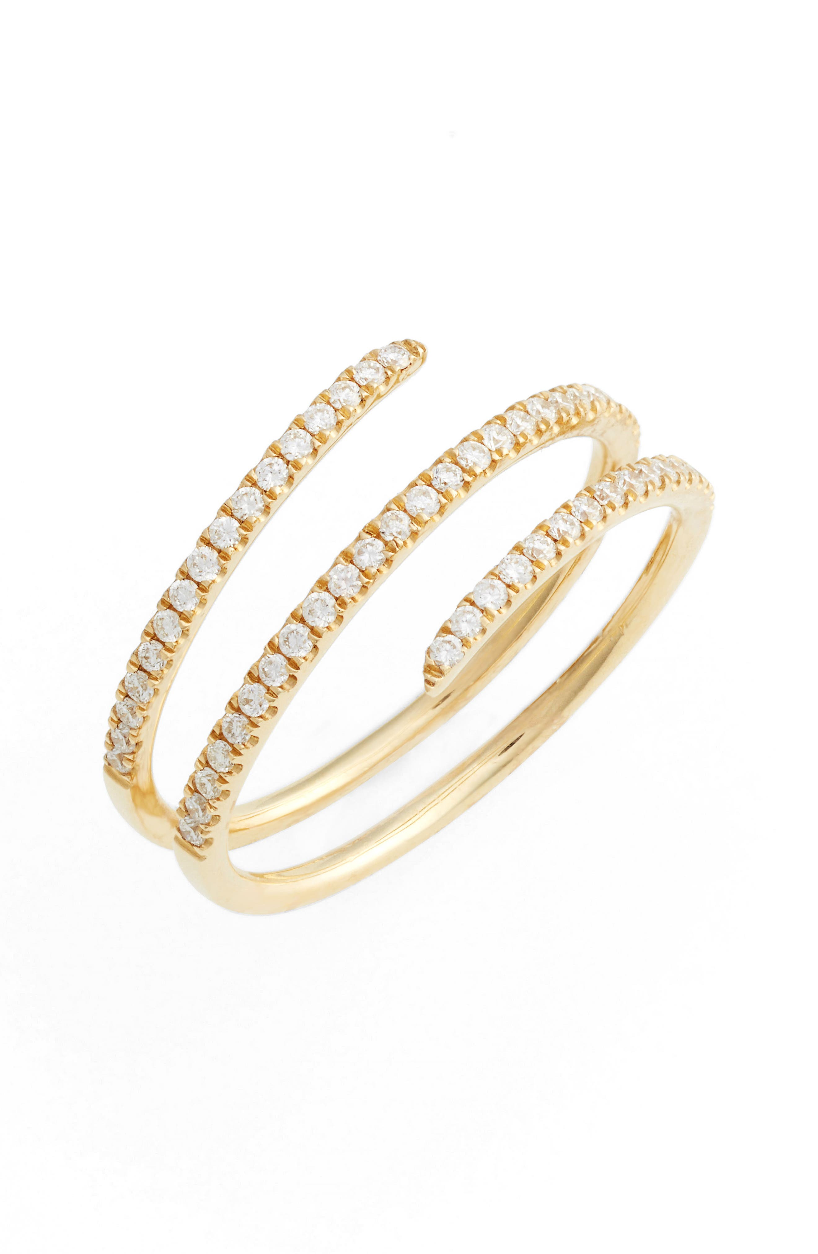 BONY LEVY Diamond Coil Ring, Main, color, YELLOW GOLD