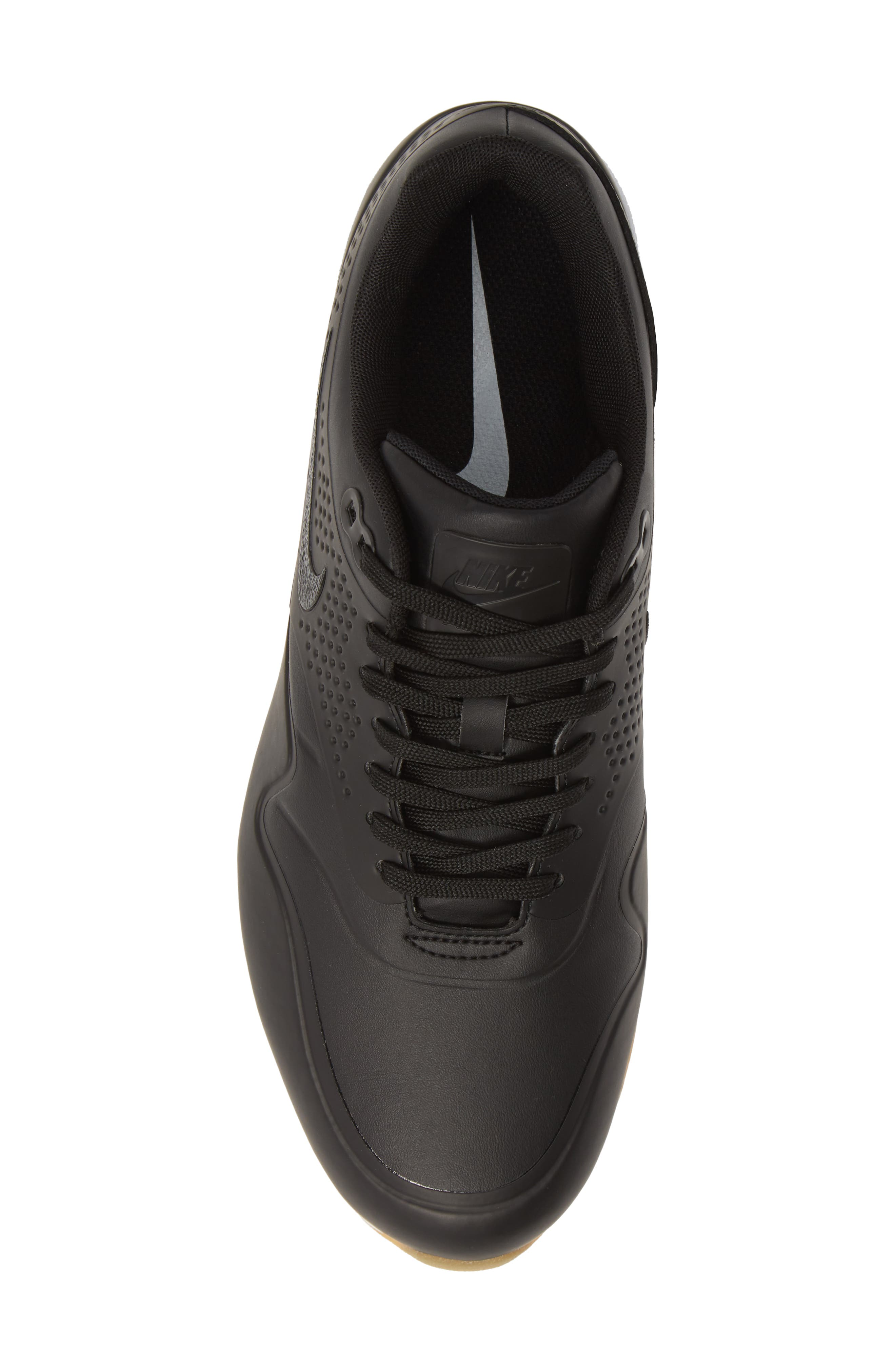 NIKE, Air Max 1 Golf Sneaker, Alternate thumbnail 5, color, BLACK/ GUM LIGHT BROWN