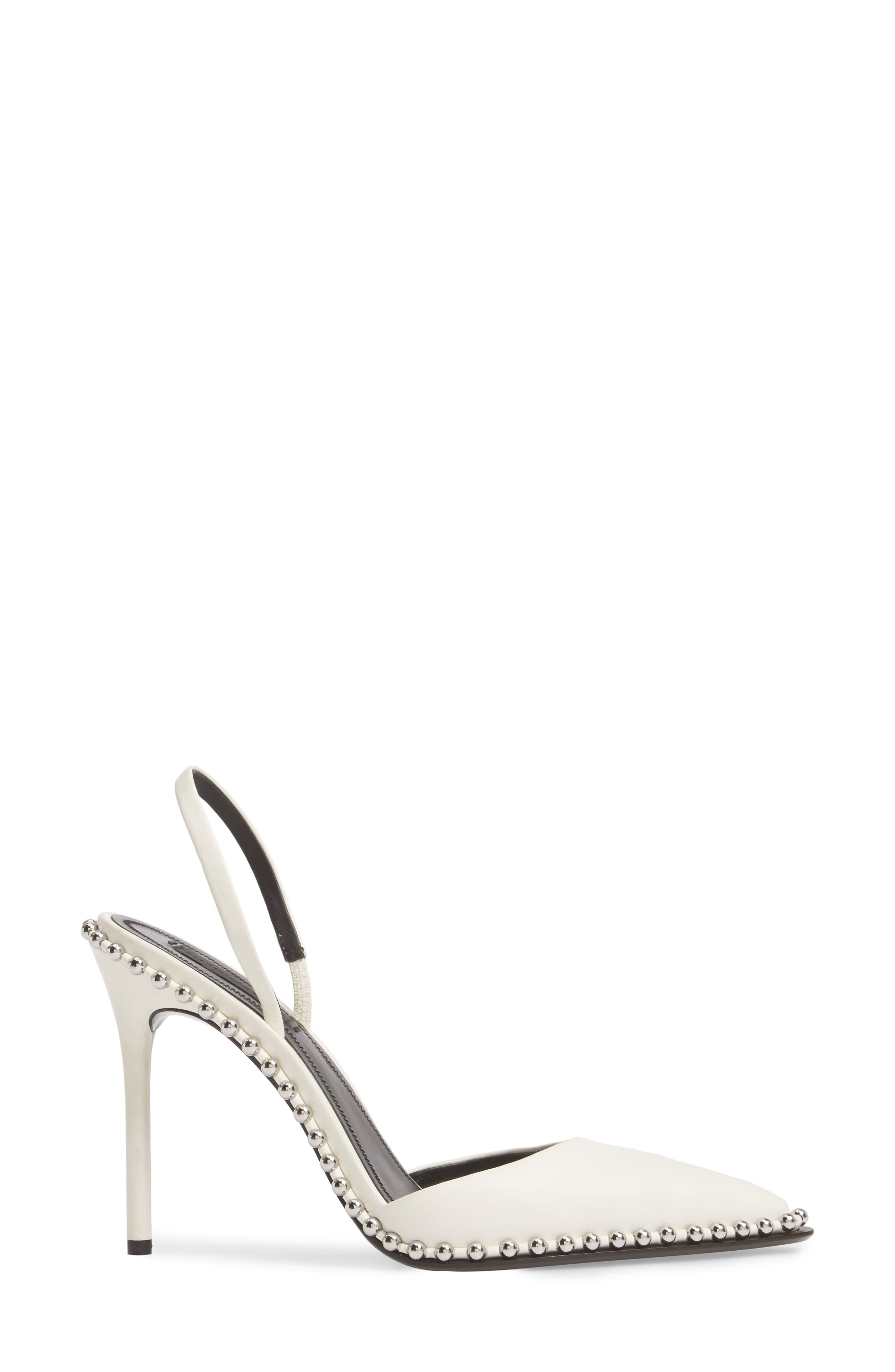 ALEXANDER WANG, Rina Beaded Pump, Alternate thumbnail 3, color, WHITE LEATHER