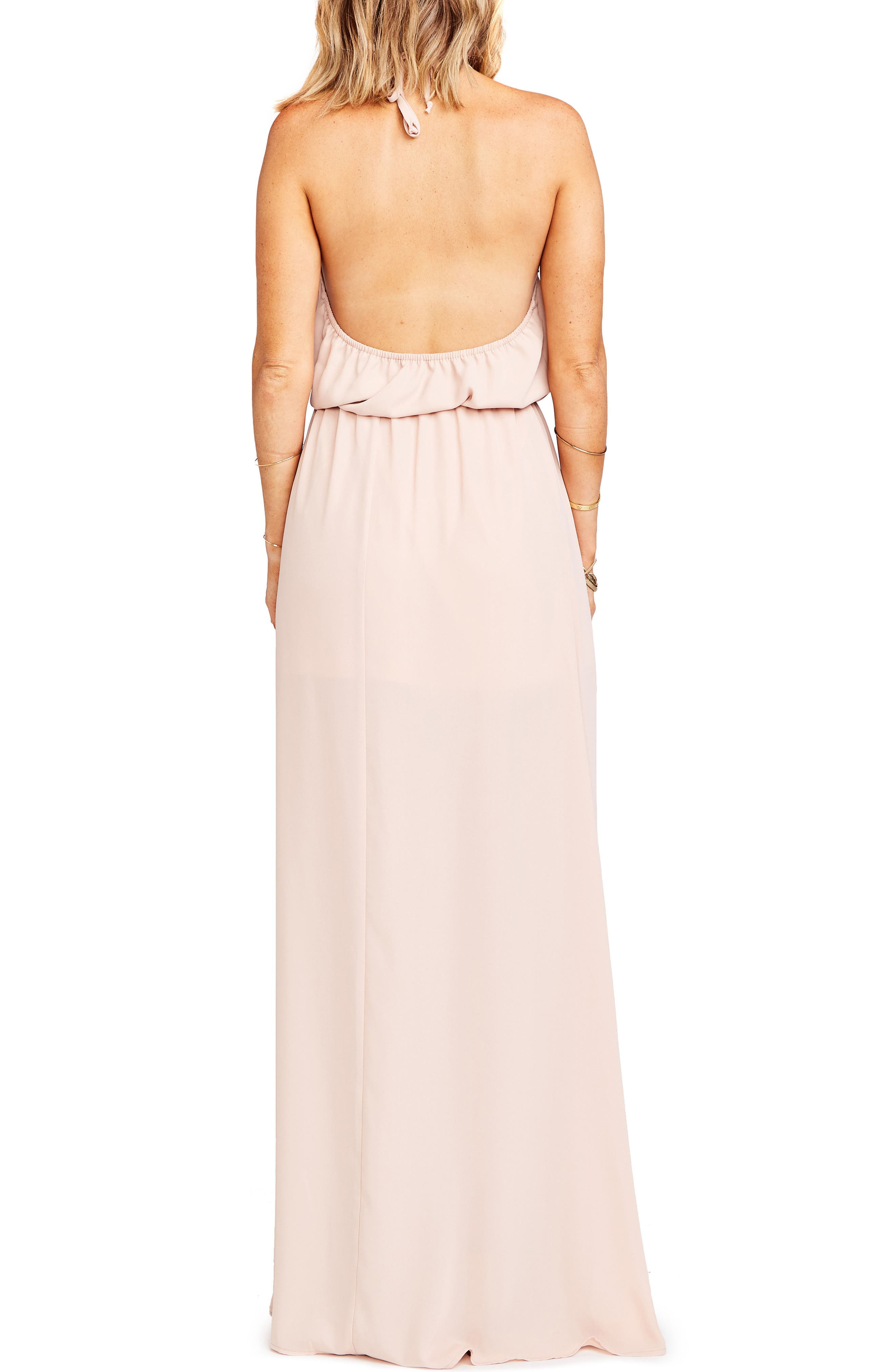 SHOW ME YOUR MUMU, Heather Chiffon Halter Gown, Alternate thumbnail 2, color, DUSTY BLUSH