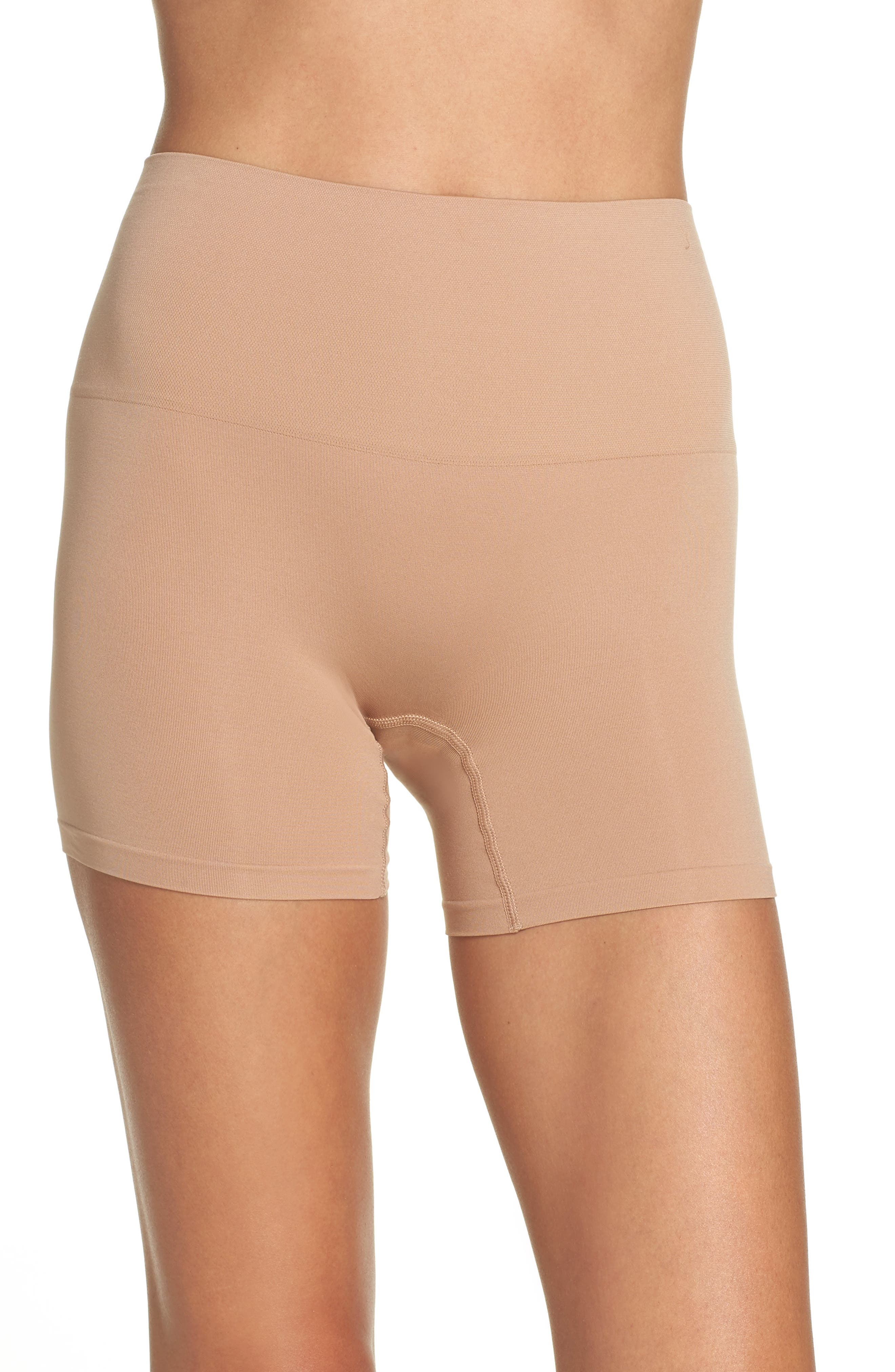 YUMMIE Ultralight Seamless Shaping Shorts, Main, color, ALMOND