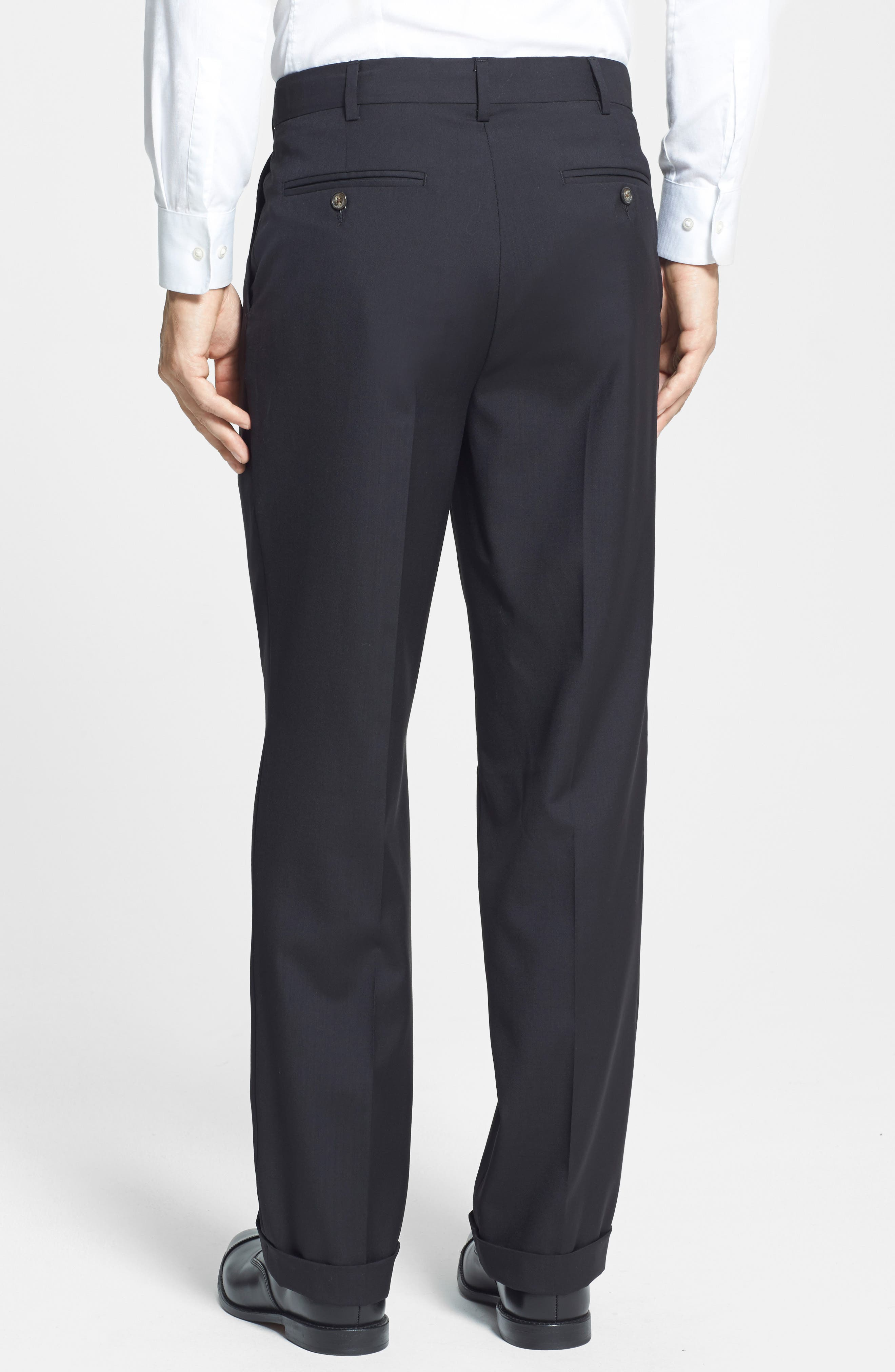 BERLE, Self Sizer Waist Pleated Trousers, Alternate thumbnail 3, color, BLACK