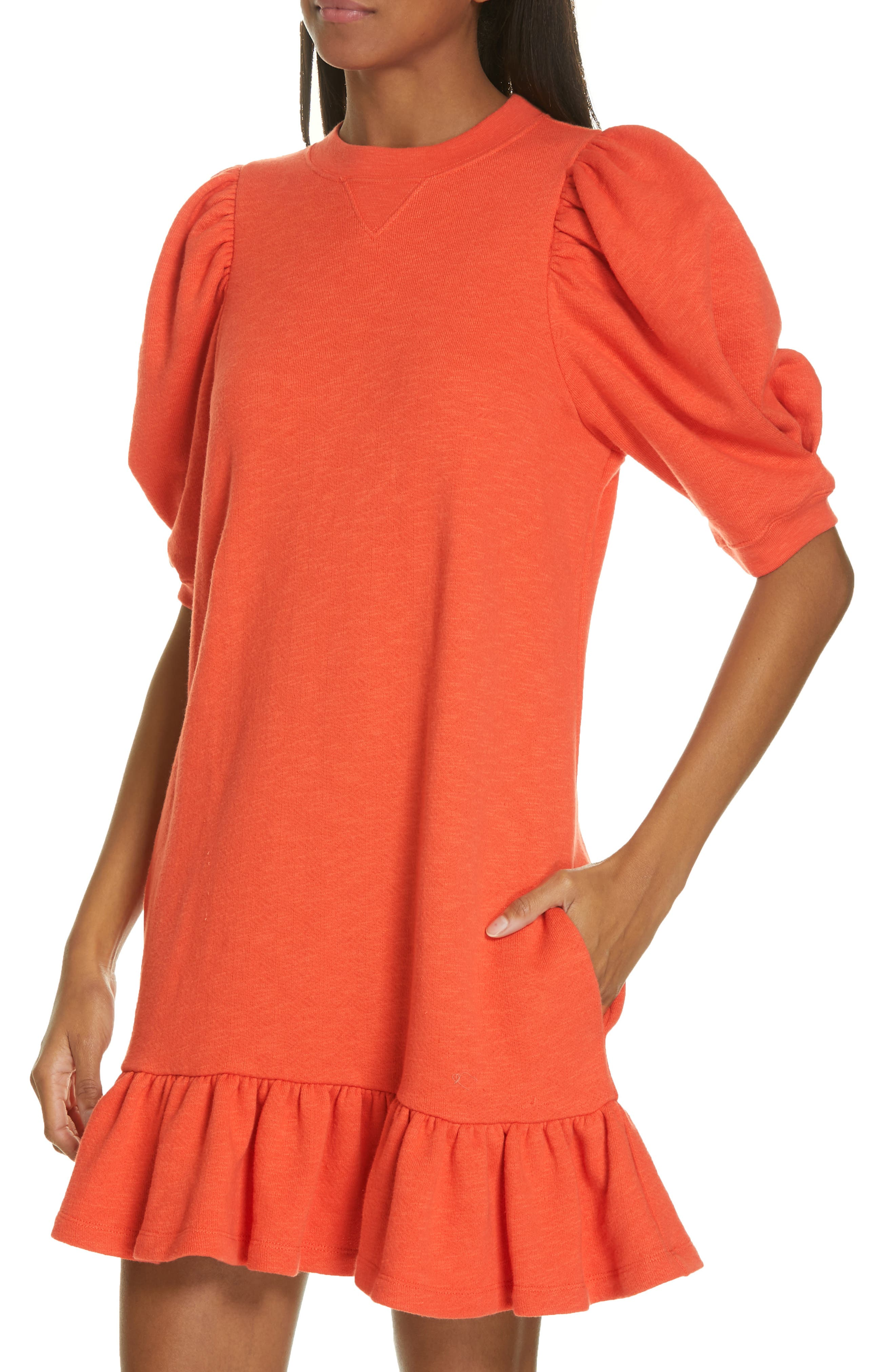 ULLA JOHNSON, Landry Puff Sleeve Sweatshirt Dress, Alternate thumbnail 4, color, CHILI