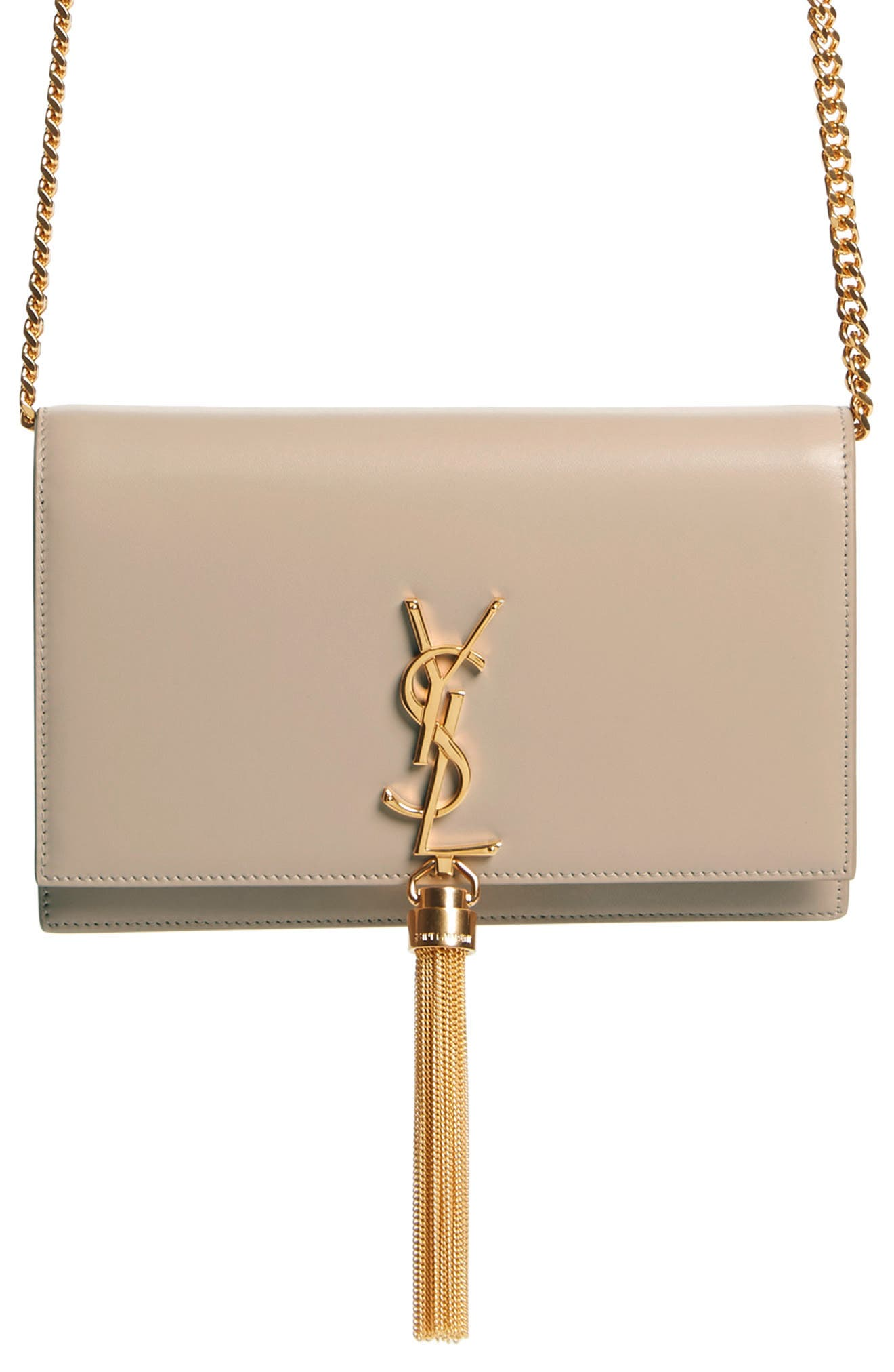 SAINT LAURENT, Small Monogram Calfskin Leather Wallet on a Chain, Alternate thumbnail 6, color, LIGHT NATURAL