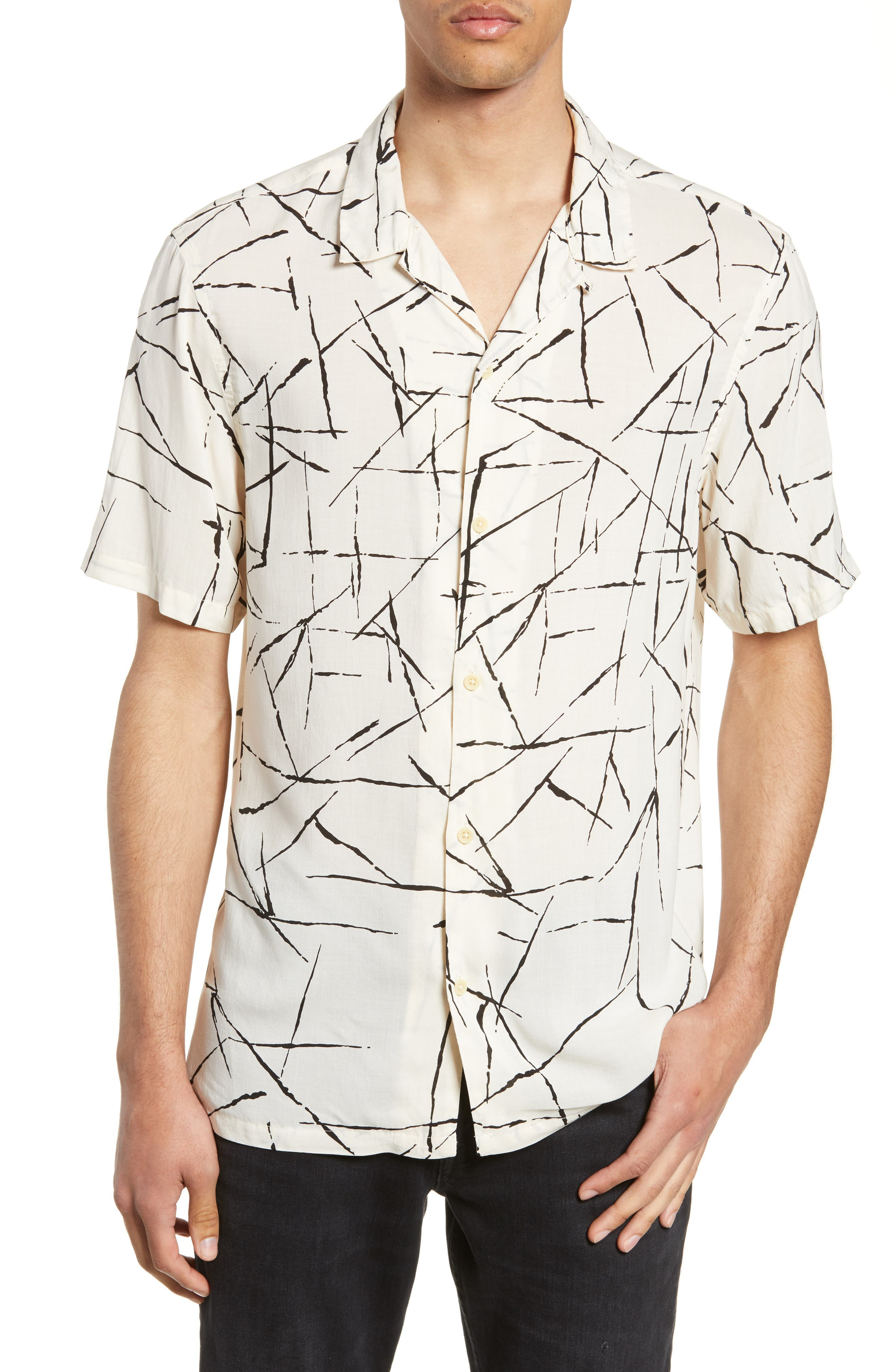 ALLSAINTS, Burma Classic Shirt, Main thumbnail 1, color, ECRU WHITE