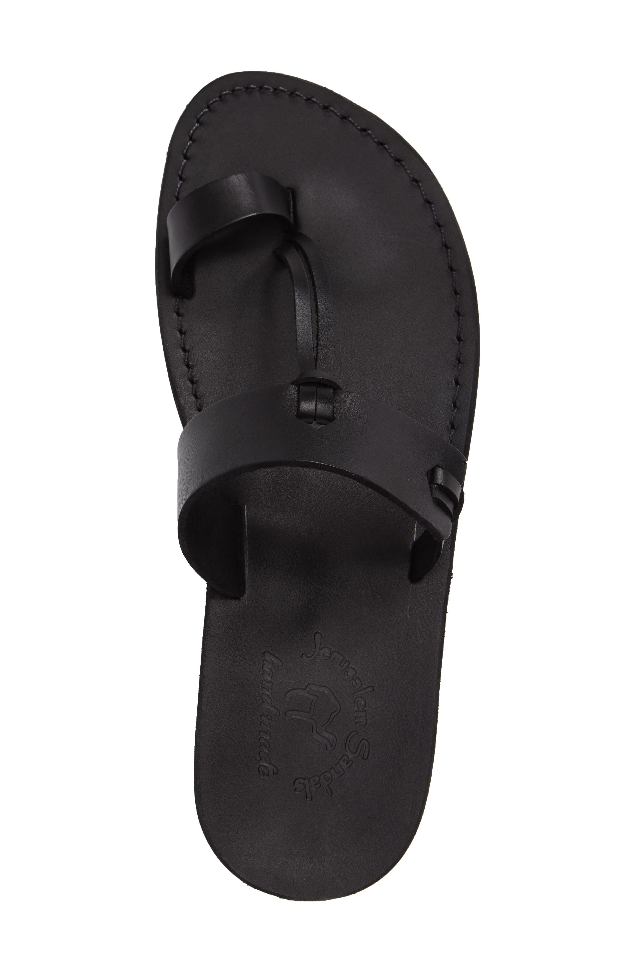 JERUSALEM SANDALS, David Toe-Loop Sandal, Alternate thumbnail 3, color, BLACK LEATHER