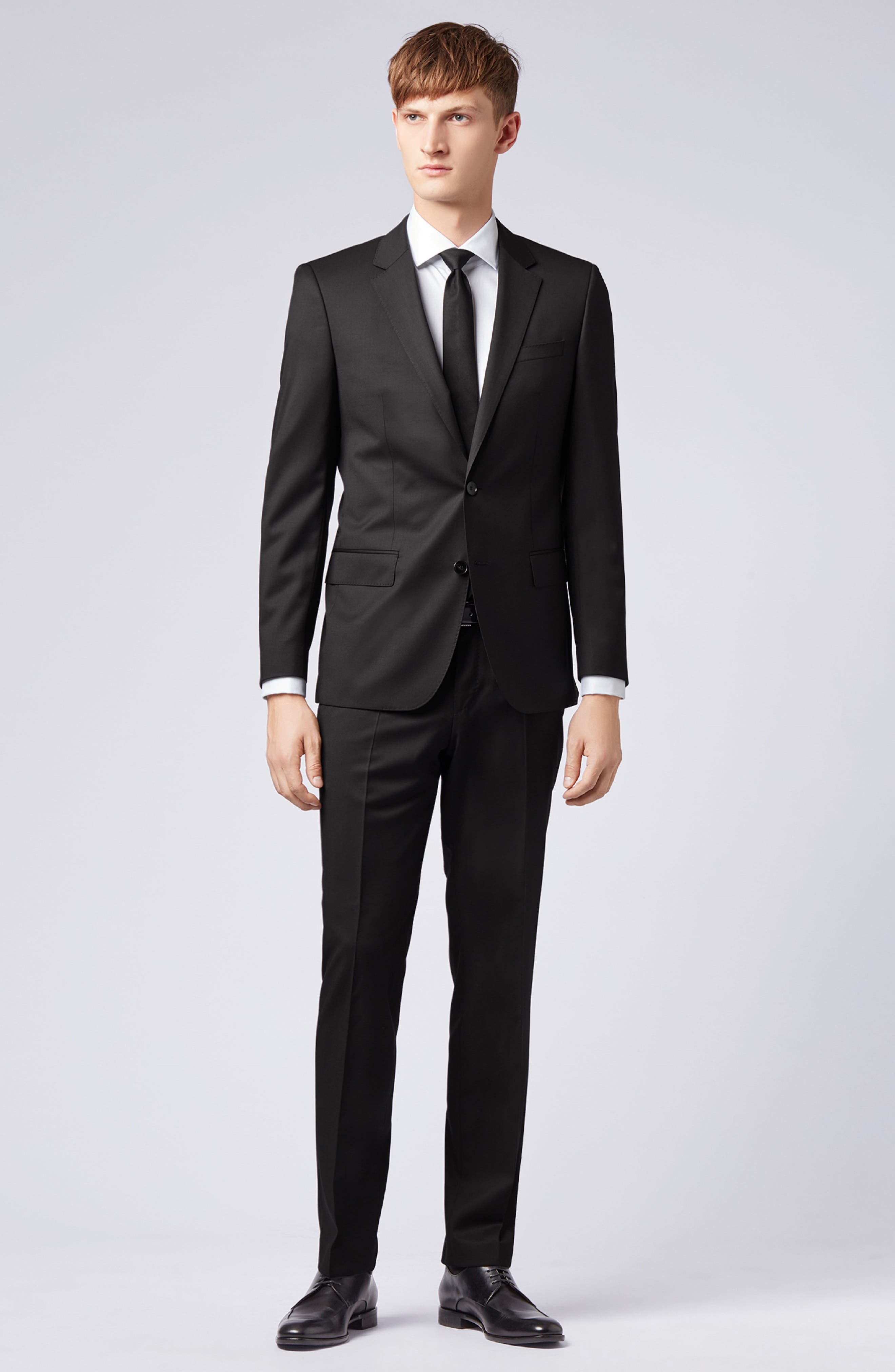 BOSS, Hayes CYL Slim Fit Solid Wool Sport Coat, Alternate thumbnail 7, color, BLACK