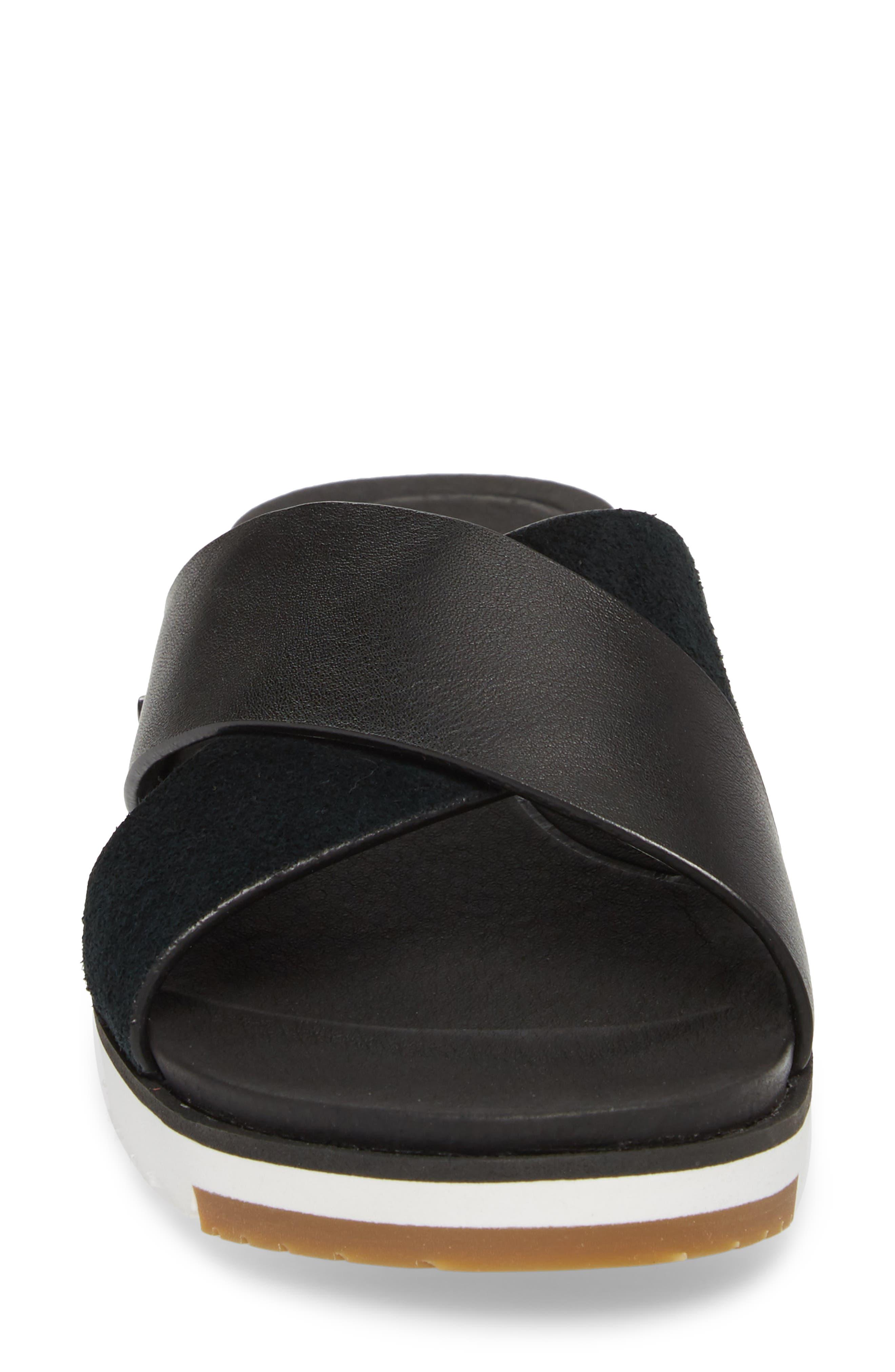 UGG<SUP>®</SUP>, 'Kari' Sandal, Alternate thumbnail 4, color, BLACK