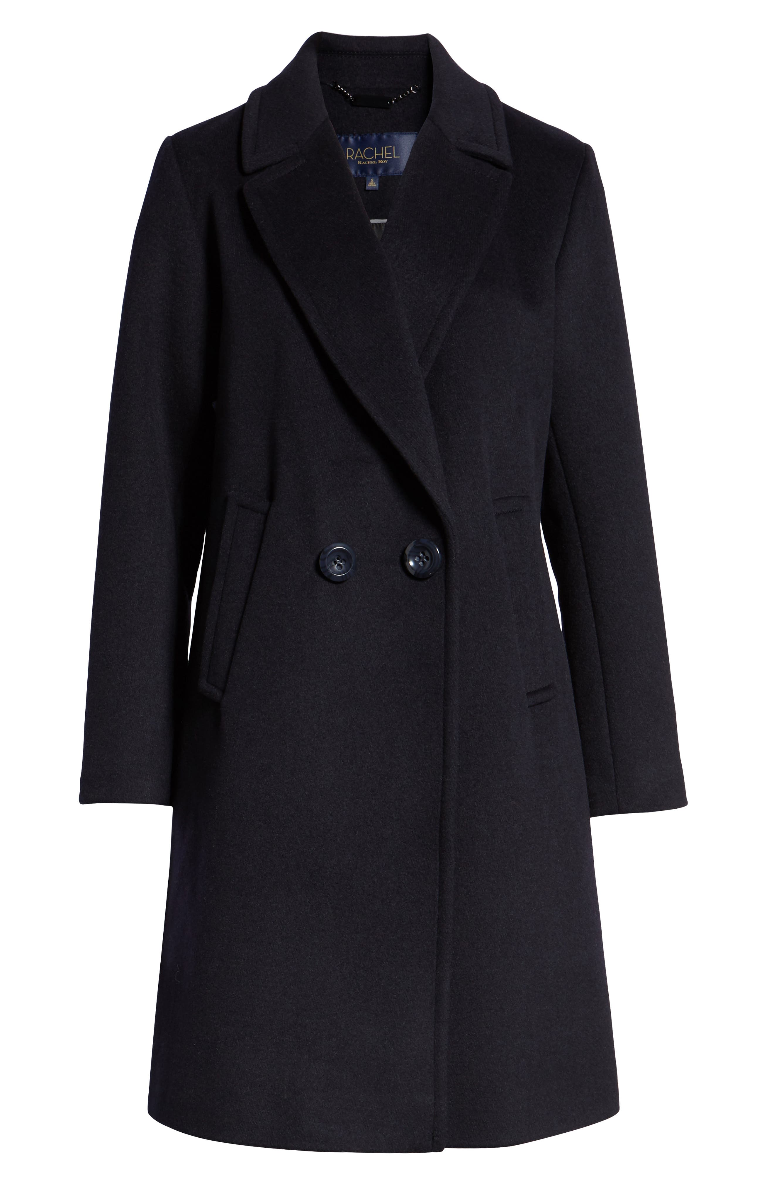 RACHEL RACHEL ROY, Double Breasted Wool Blend Coat, Alternate thumbnail 6, color, 410